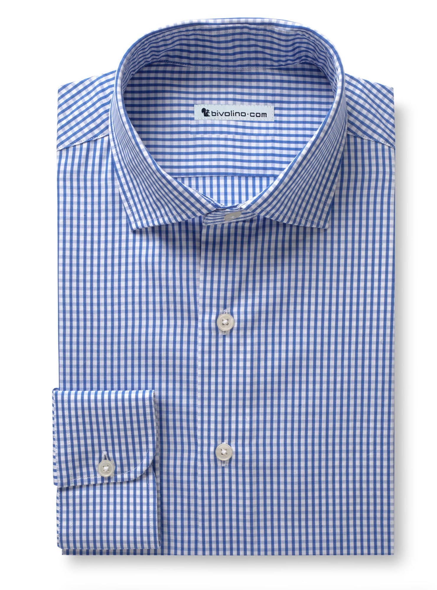 ALEAO - Men's blue check shirt - DOCRA 3