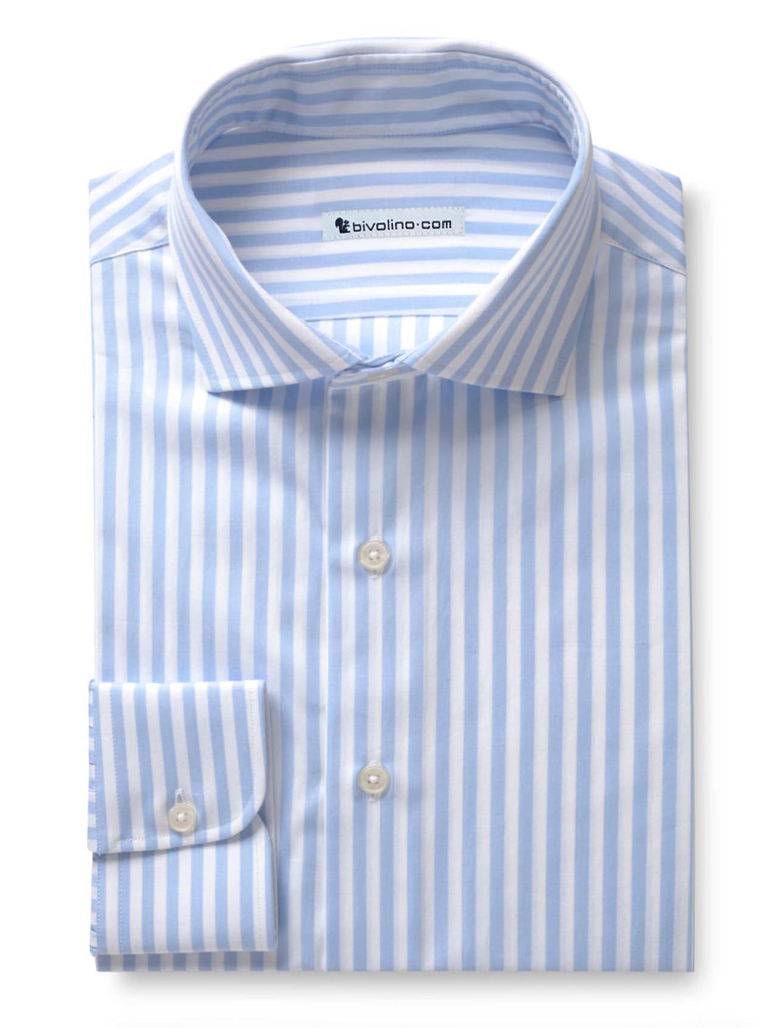 PIRIRO - Light blue striped men's shirt - WINDY 2