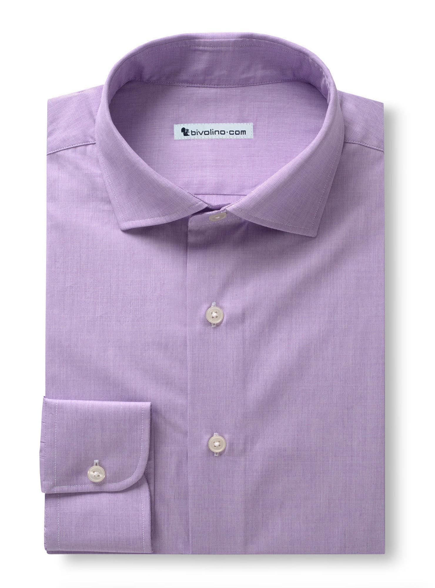 PRIATO - End-on-End plain purple Shirt - PARTY 6