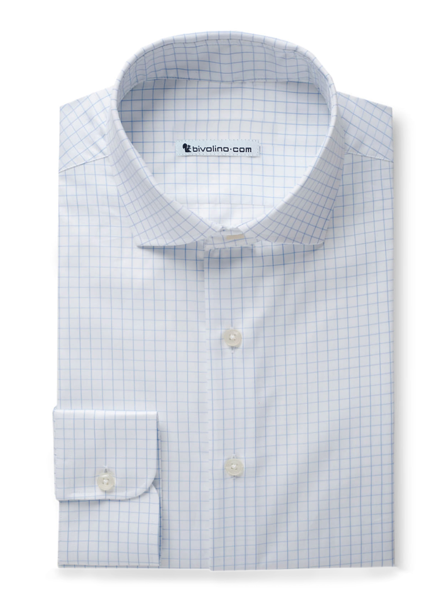 PISATINO - Sky blue check twill shirt - DARCI 4