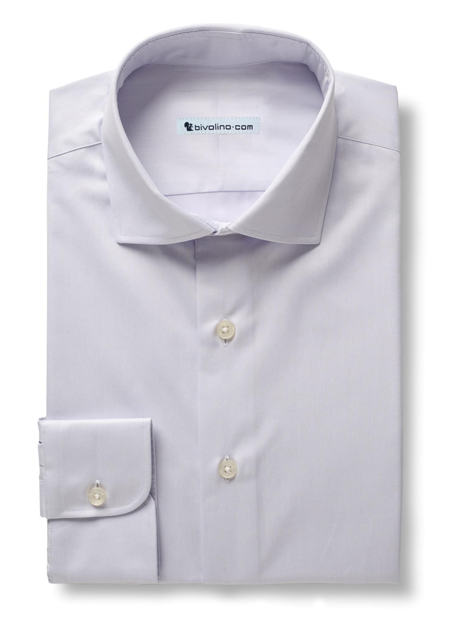 PREZZIANO - Plain lilac twill shirt - SANTI 3
