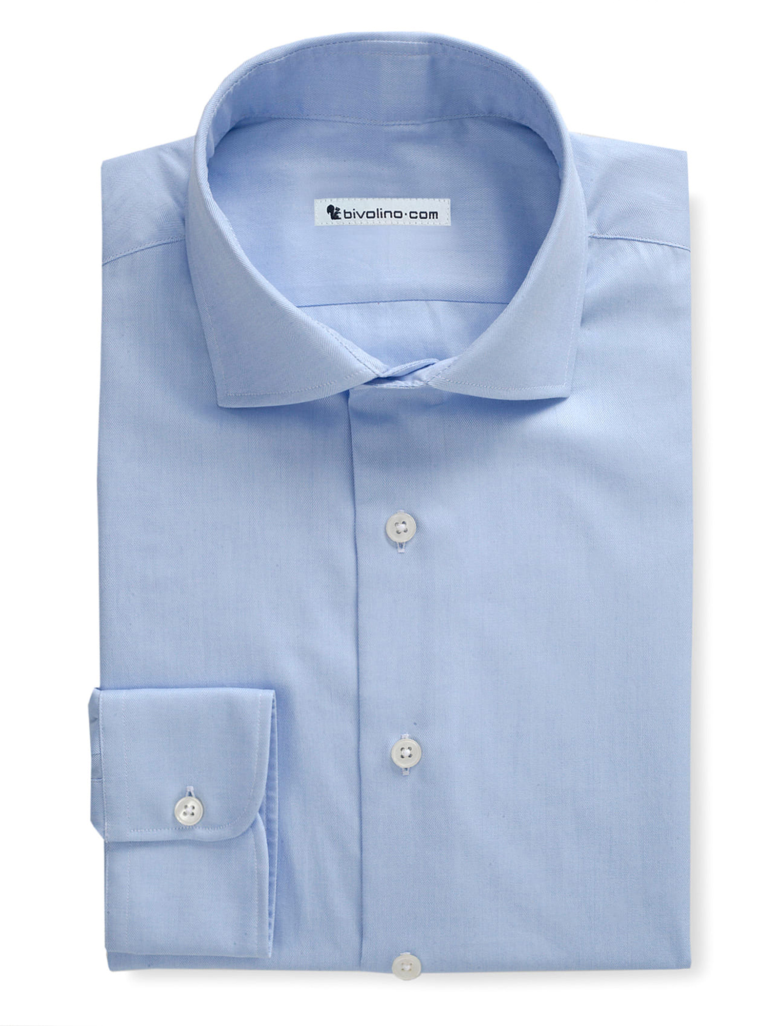 DEXUGIA - Herringbone plain blue shirt  - PEGLI 2
