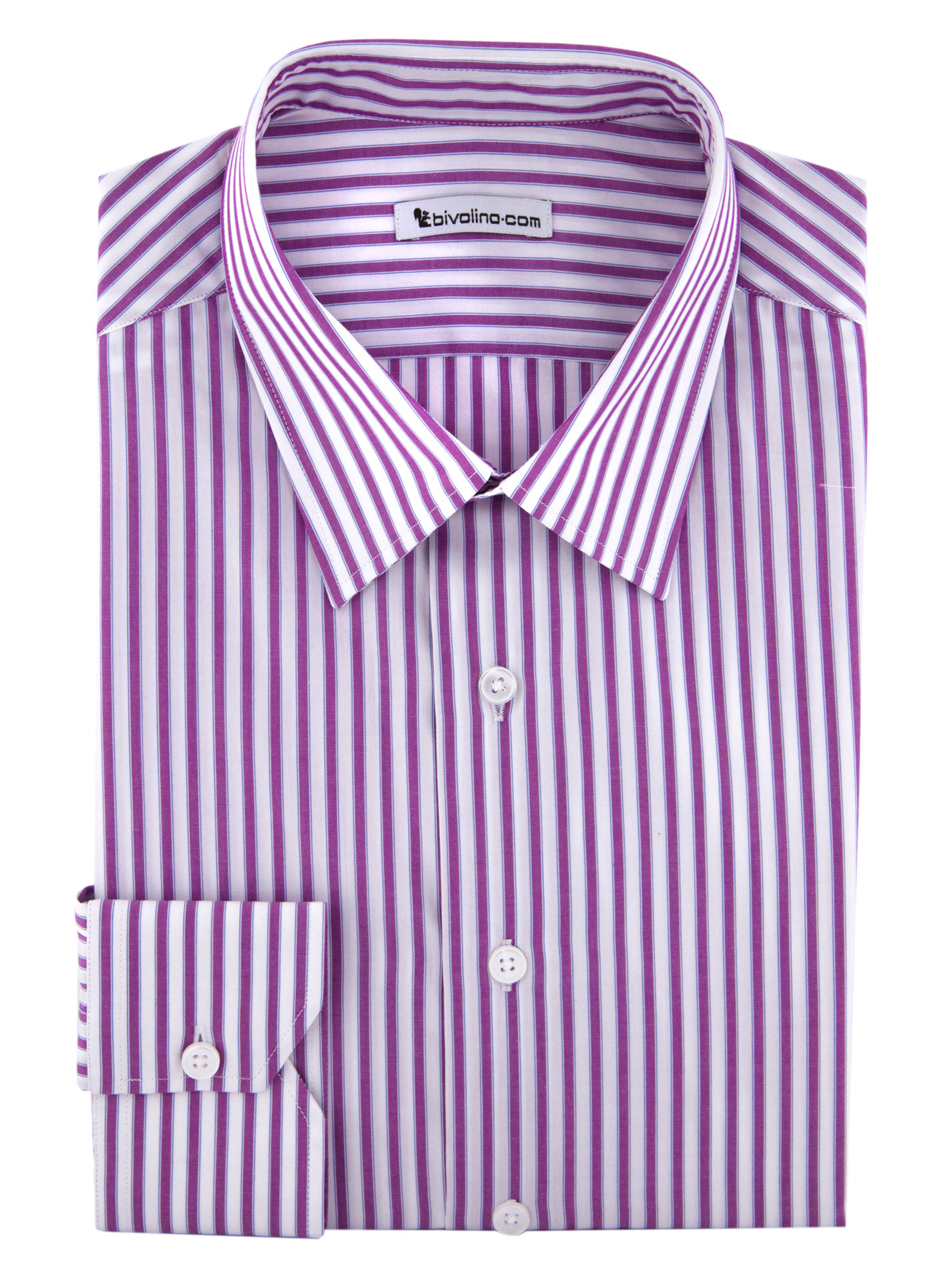 TREPONTI - purple striped poplin shirt - GLEN 3