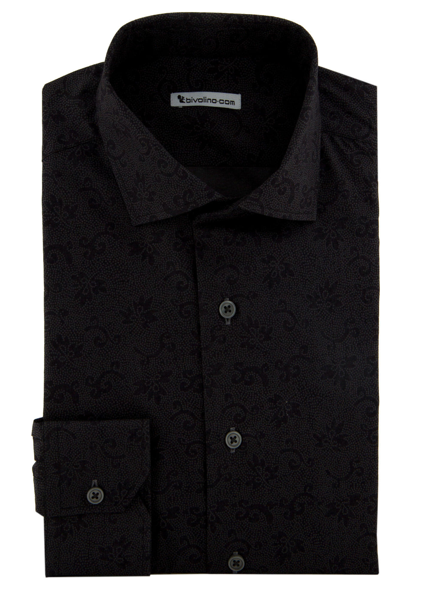 Bardolino - Printed shirt with black flowerprint - PARTO 1