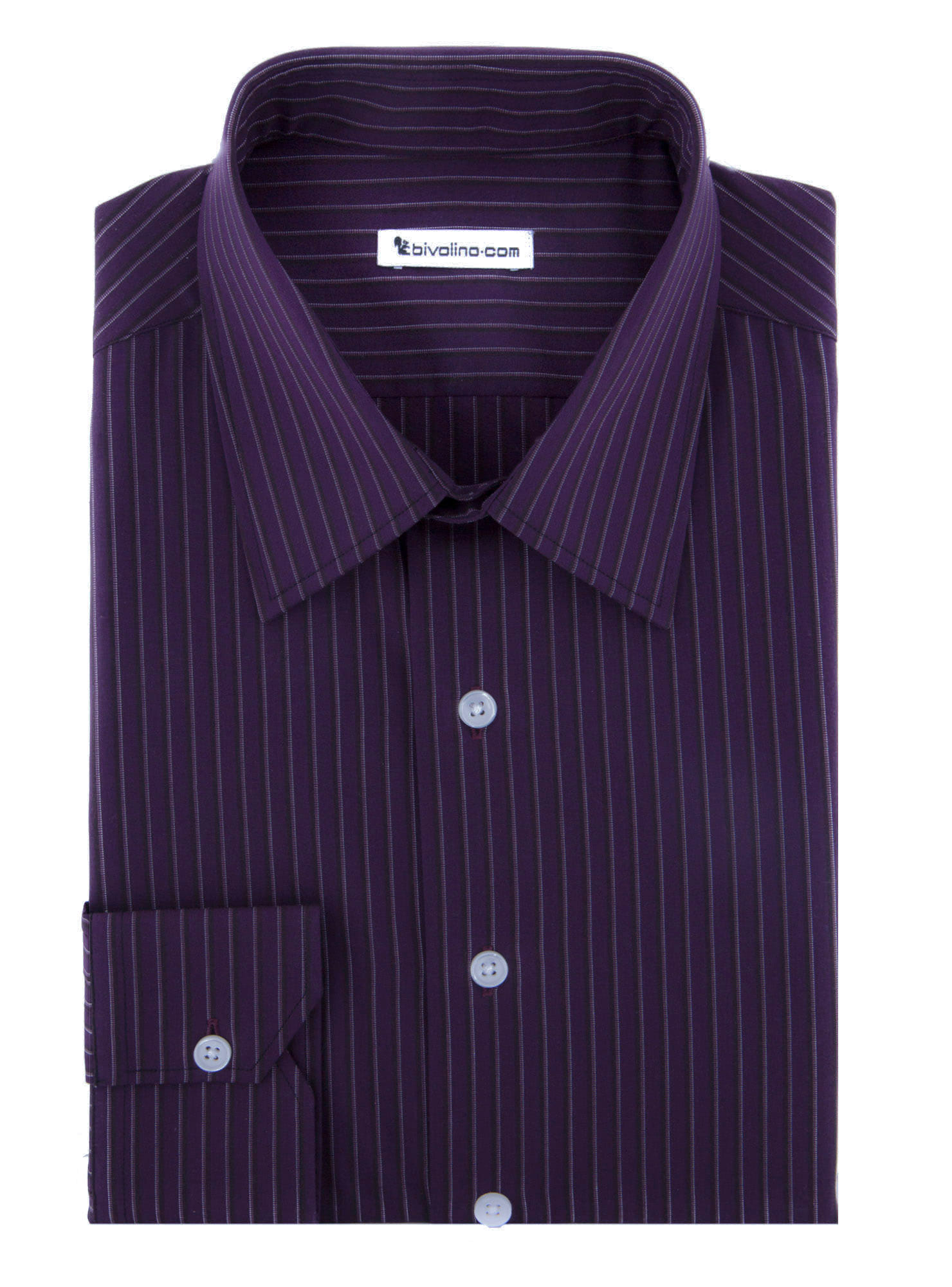 ROVIGO - Purple striped popeline shirt  - CIFRA 3