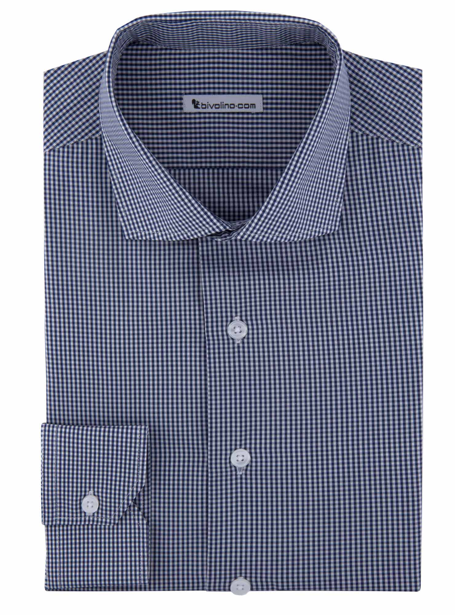 Breno - Poplin navy gingham check shirt - Kento 2
