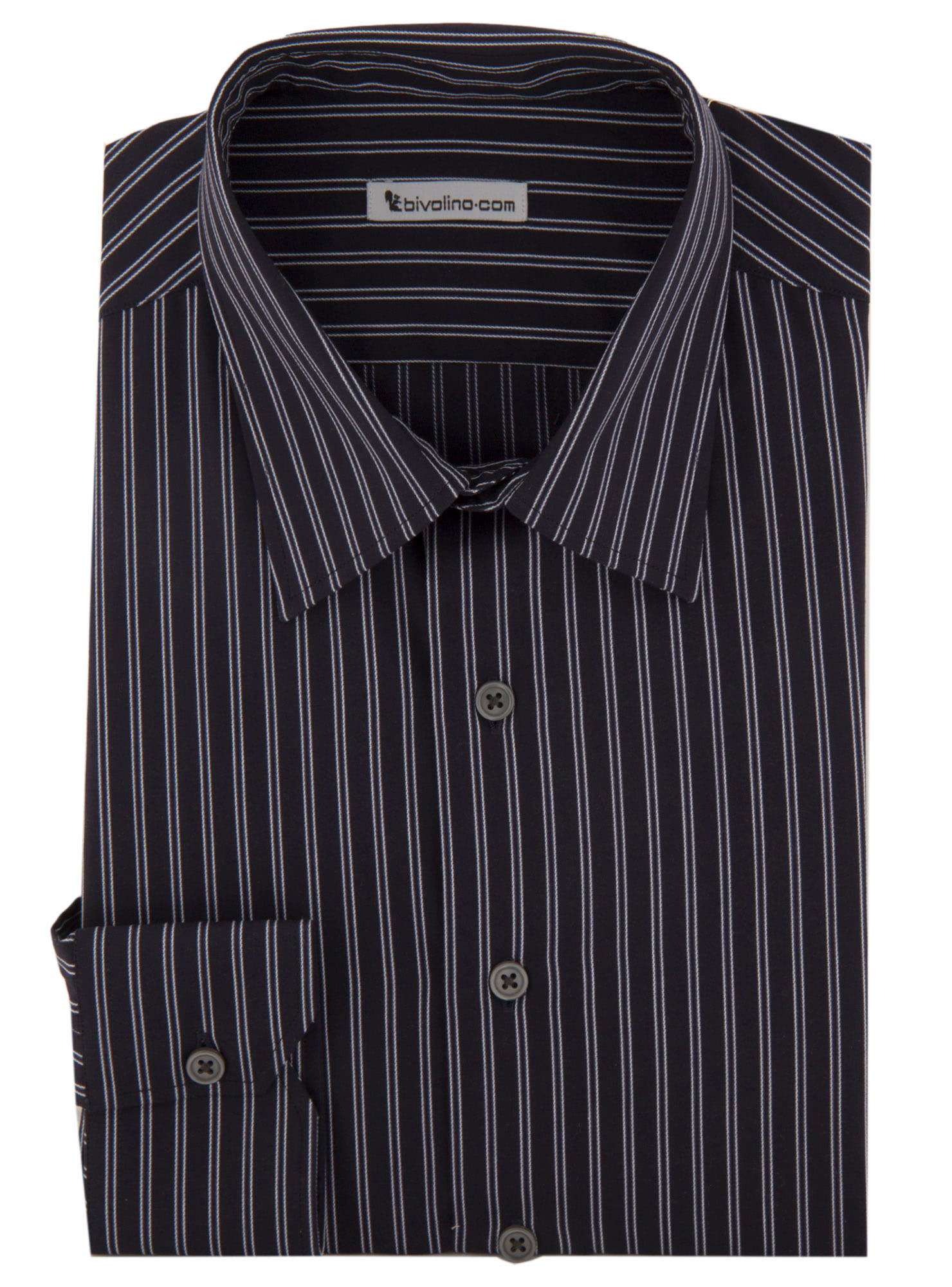 Fiesolito - Black striped popline shirt - Cifra 5