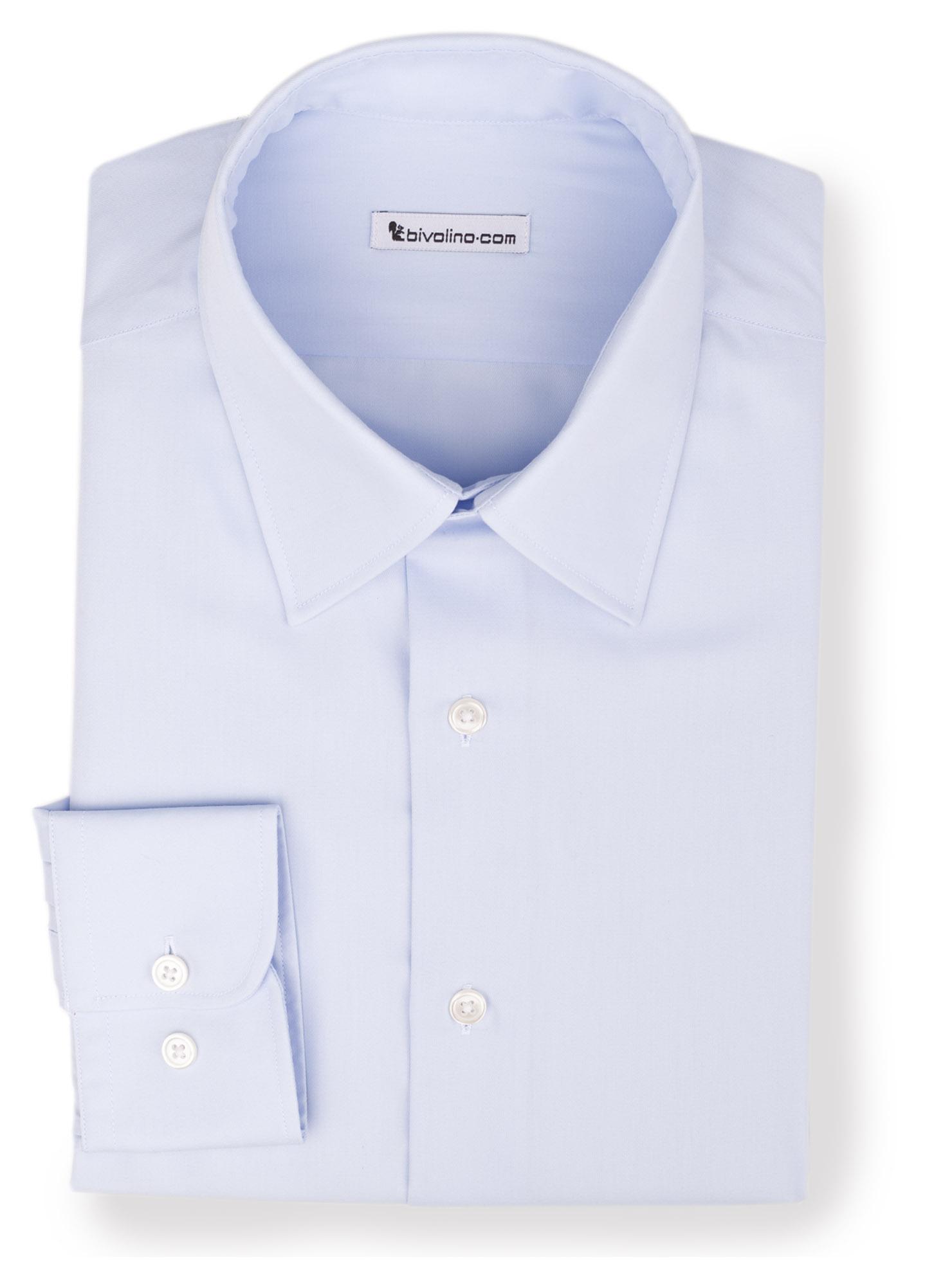 GREBALDINI -  Blue twill non-iron shirt - Opal 2