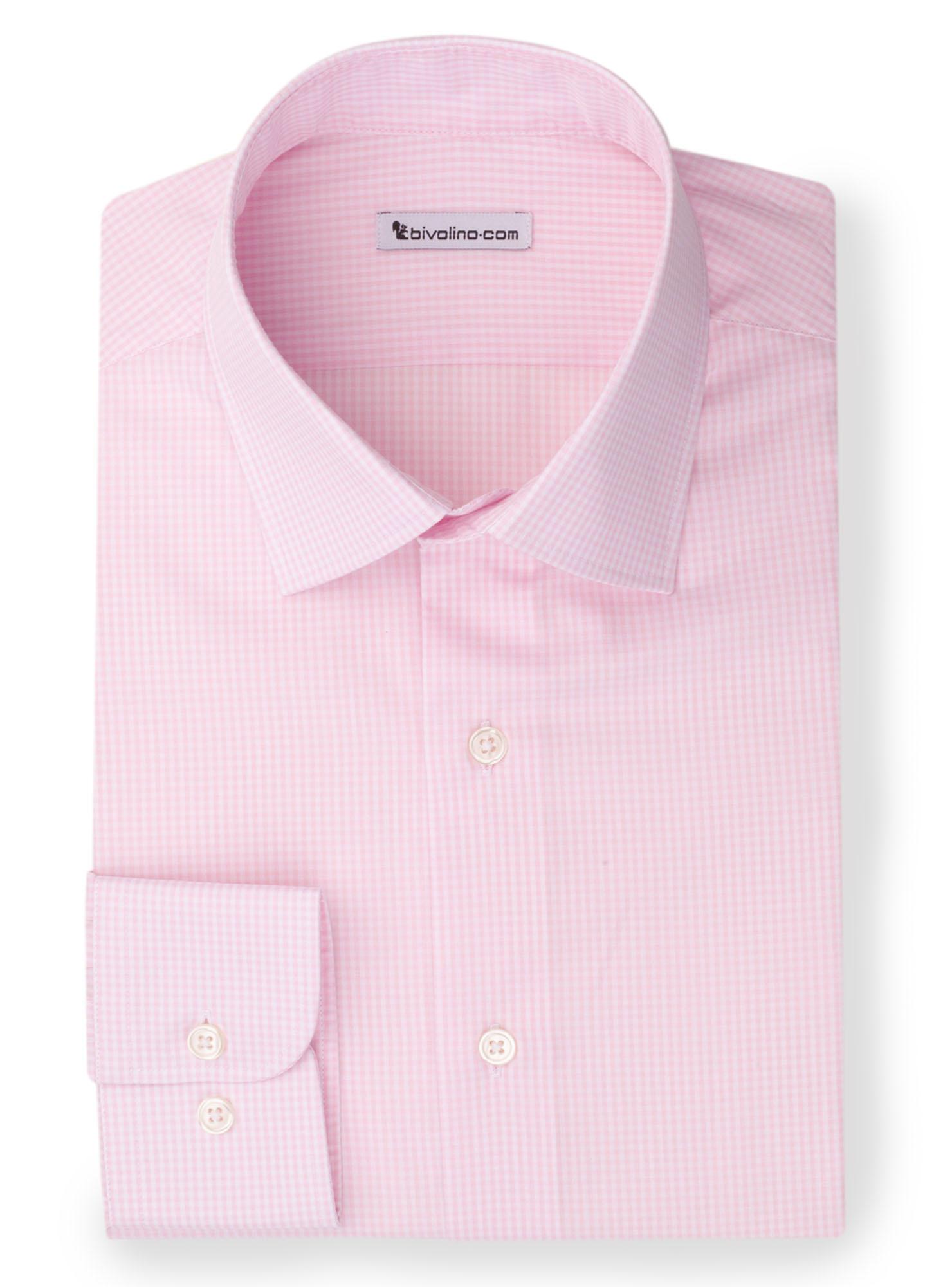 BOLIVICINI -  pink poplin gingham shirt - Kento 1