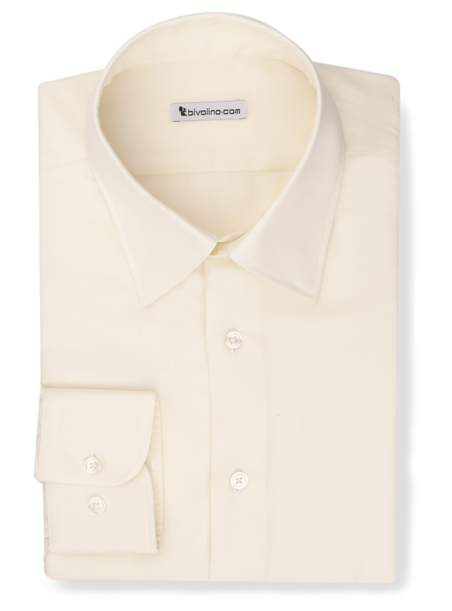 GROVINICI  -  yellow-ivory twill non-iron shirt - Opal 3