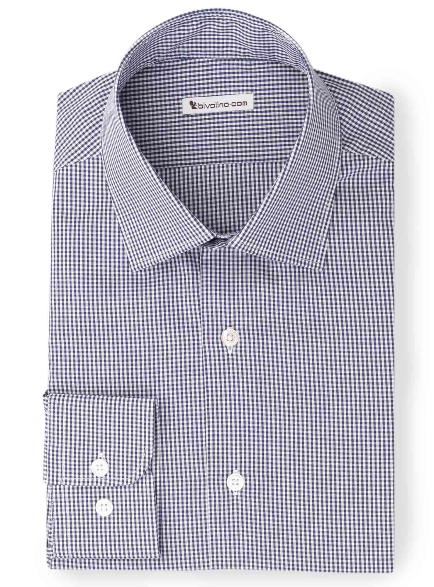 BERBIANO -  Navy poplin gingham shirt - Kento 2