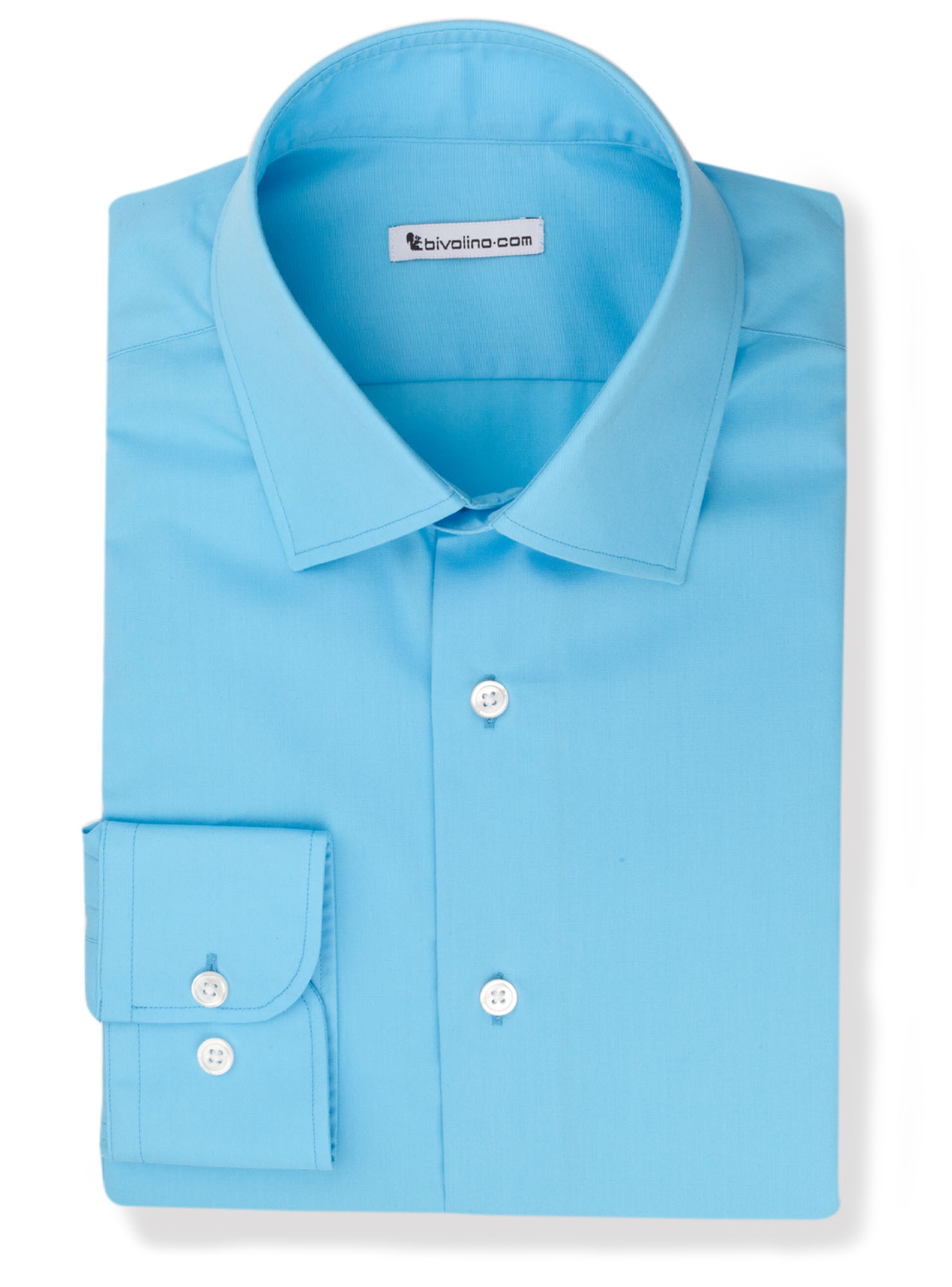 PERFO -  Turquoise poplin shirt easy-care - Brise 3