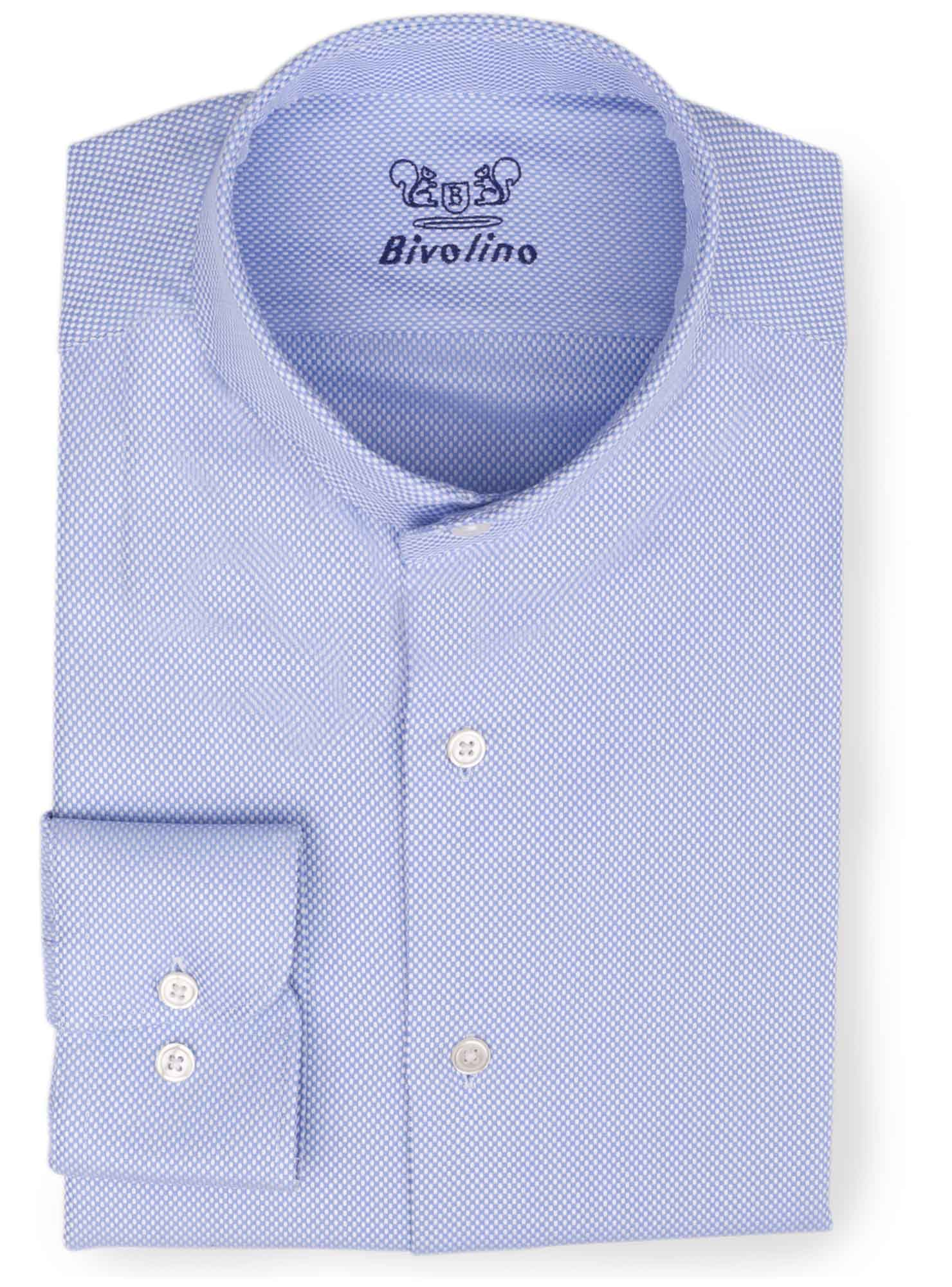 FORDIANO - Chemise dobby bleue col cutaway - Bedford 2