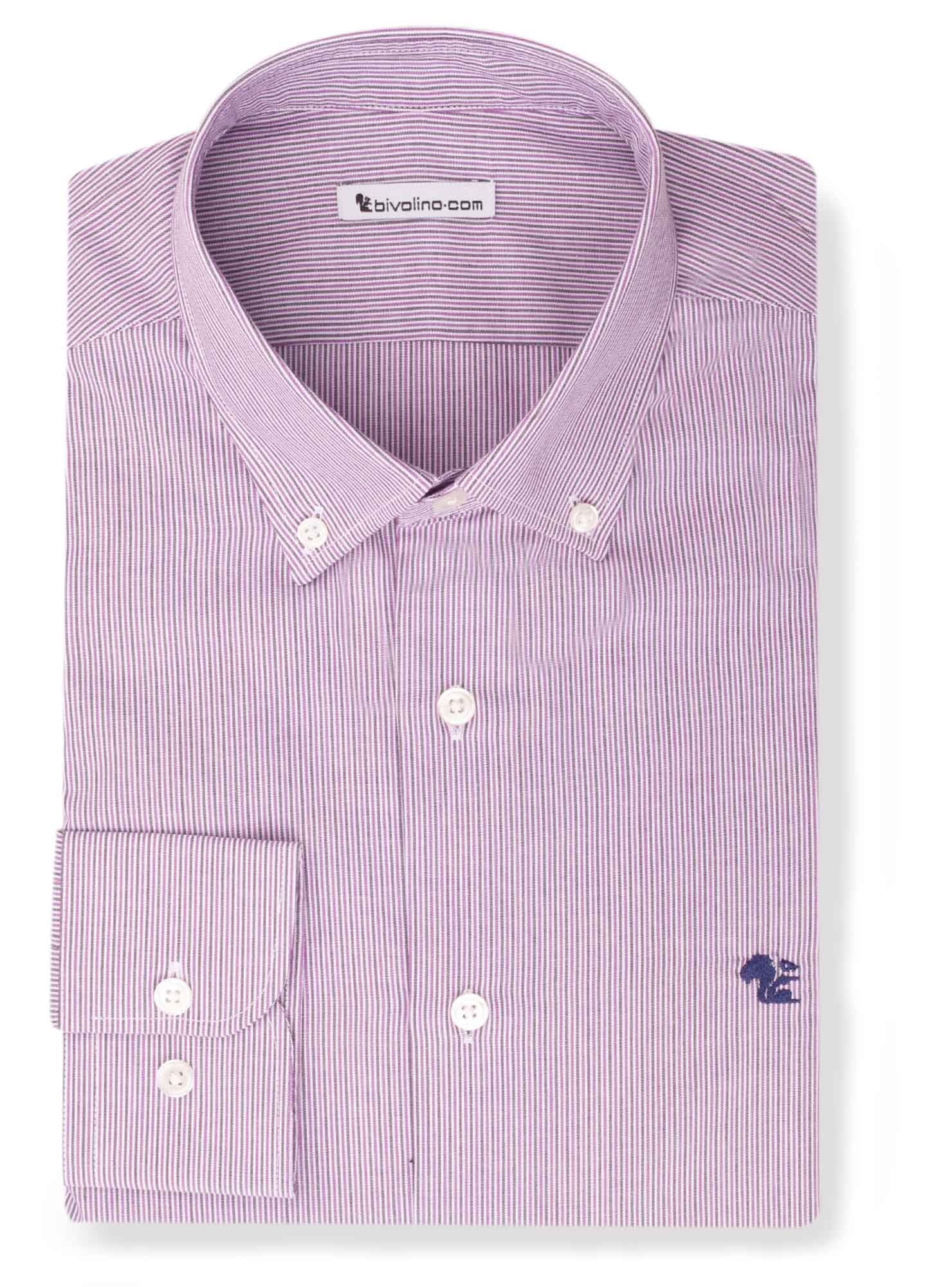 BOLICHI - Poplin purple striped shirt - Bolis 2