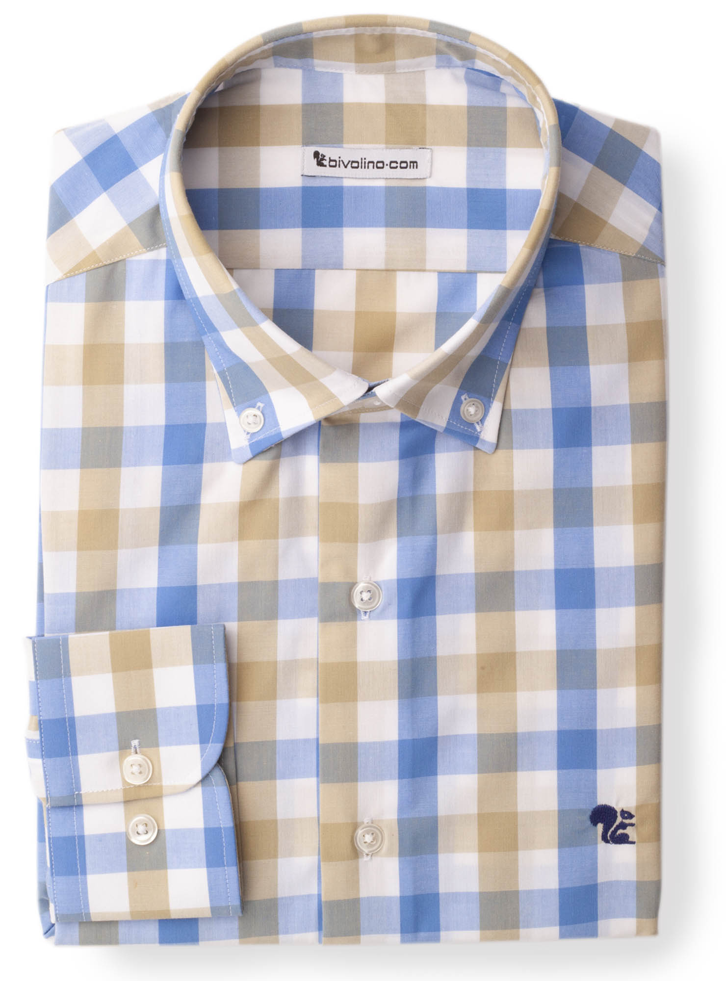 LADOBORA - madras ruit navy popeline overhemd - LADO 1