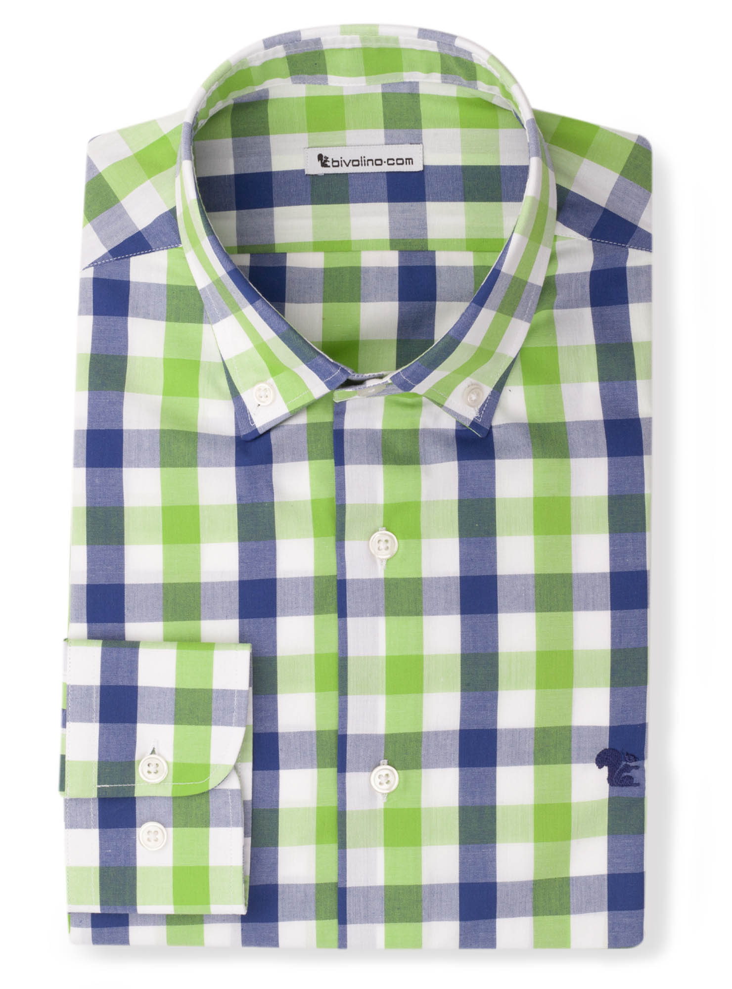 LADINI - Poplin madras check shirt green - LADO 3