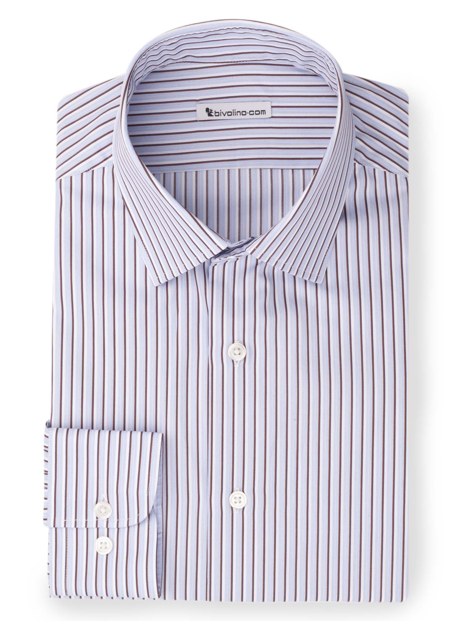 ROSCANA -  Navy poplin striped shirt - Rosca 1