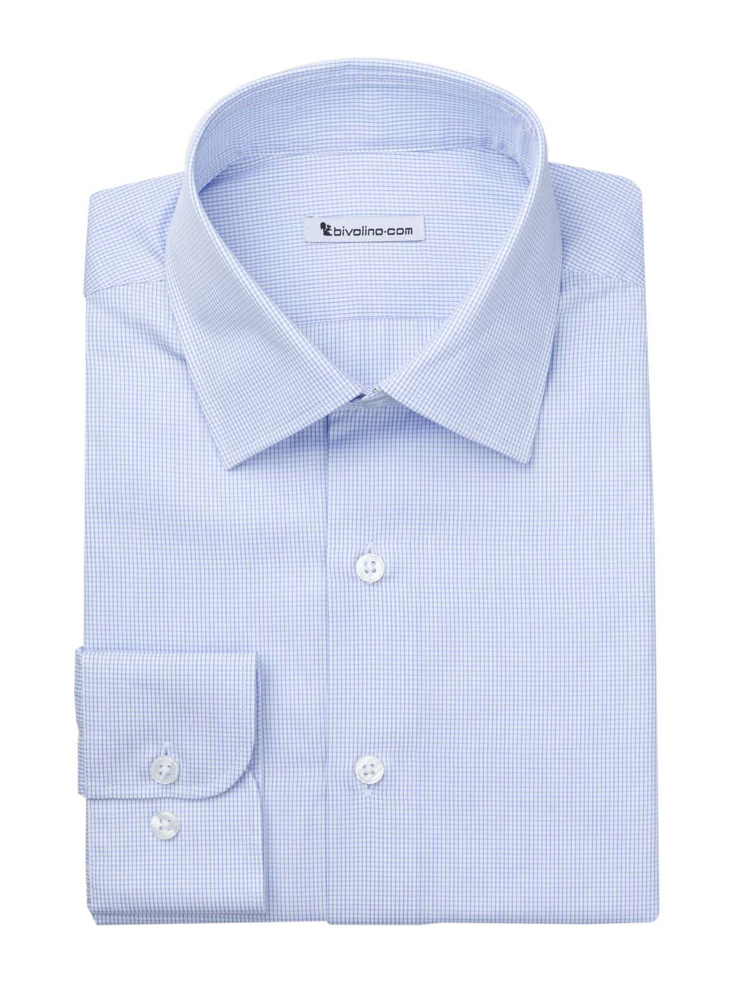 PRAZOLLO  - Men's shrt cotton 2ply blue check - DOCRA 7