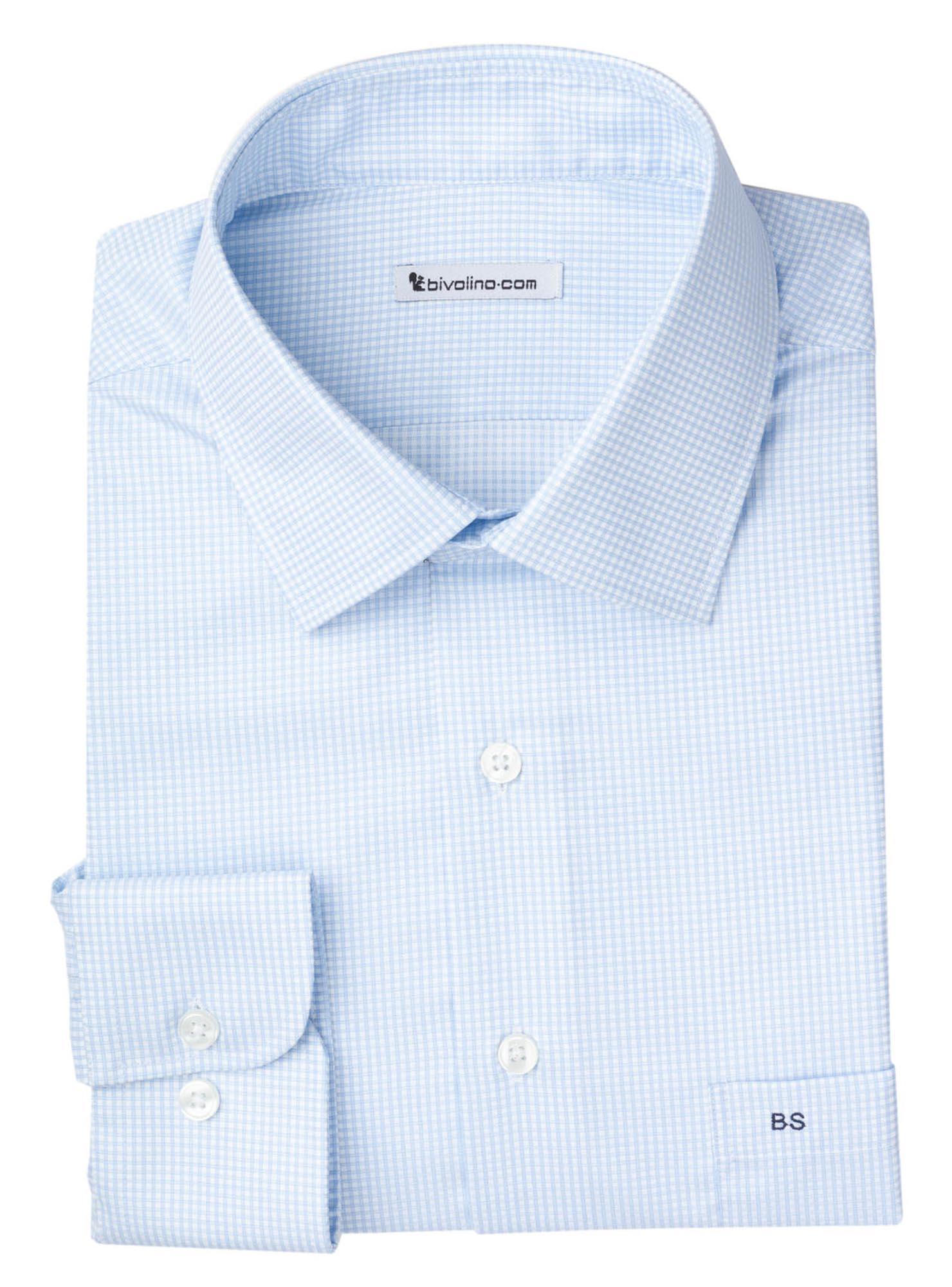 PALLONI - Männerhemd Supima Vollzwirn Baumwolle blaues Karo - DARCi 1