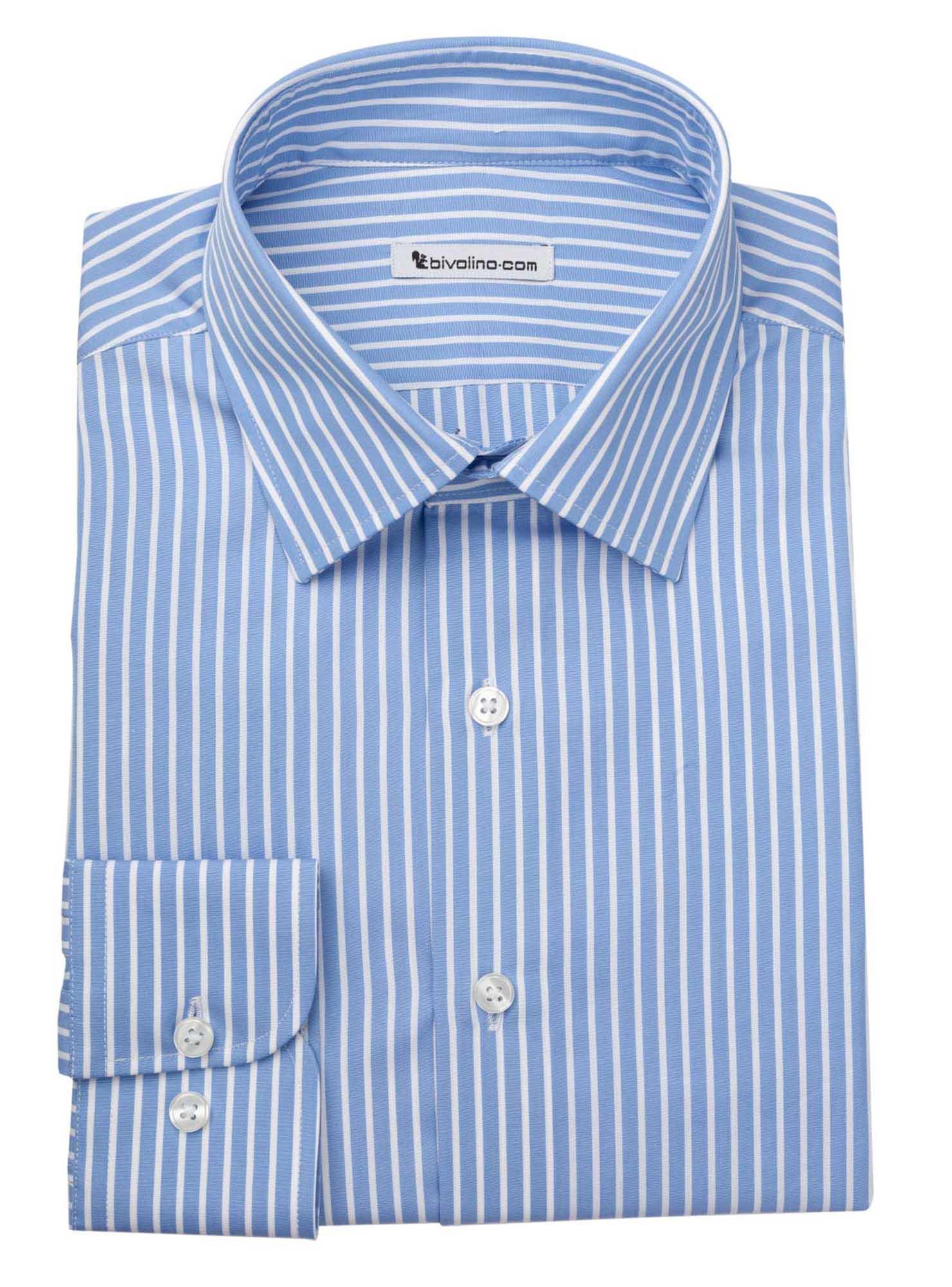 MARAGO - Männerhemd Vollzwirn Baumwolle  blaue Streifen - TUFO 0