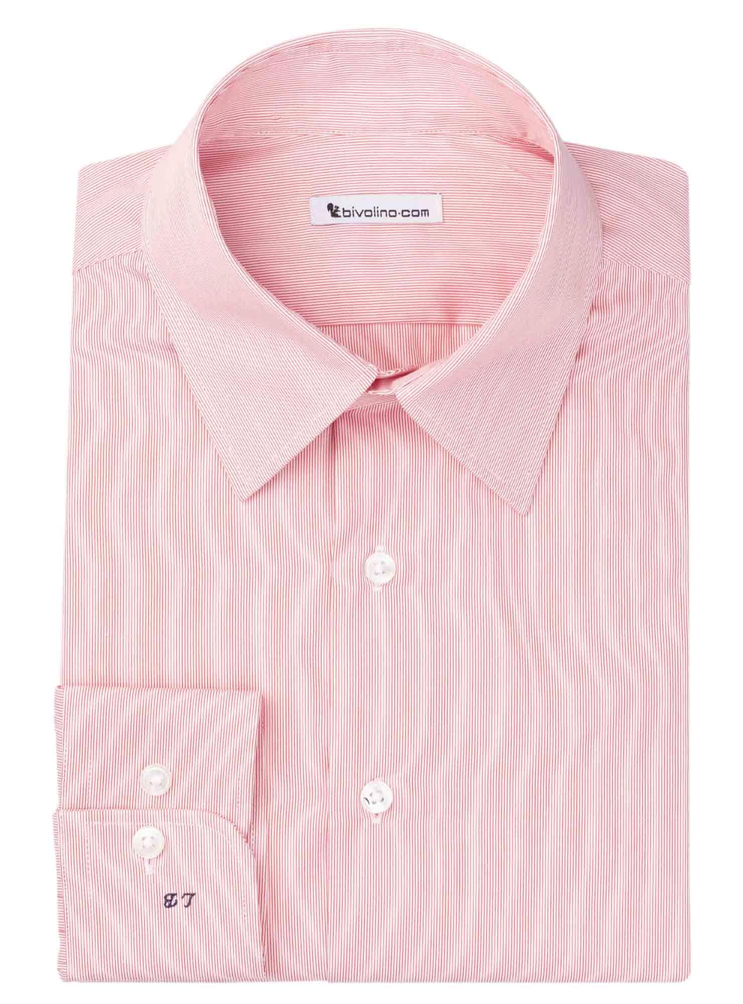 BRESCIA - Männerhemd Vollzwirn Baumwolle  rote Streifen - WINDY 4