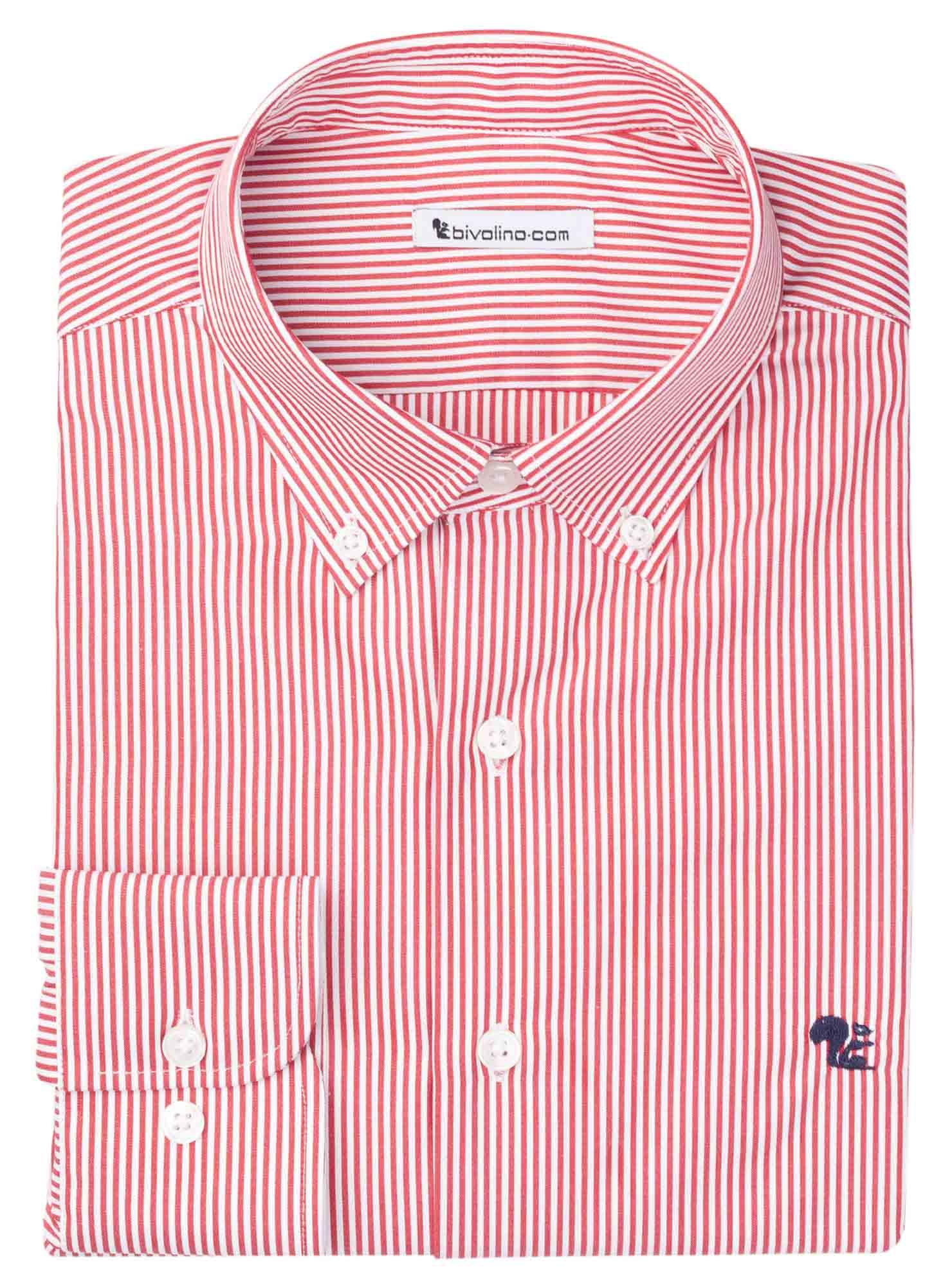 PRATO  - Men's shrt cotton red stripe - FAKIR 8
