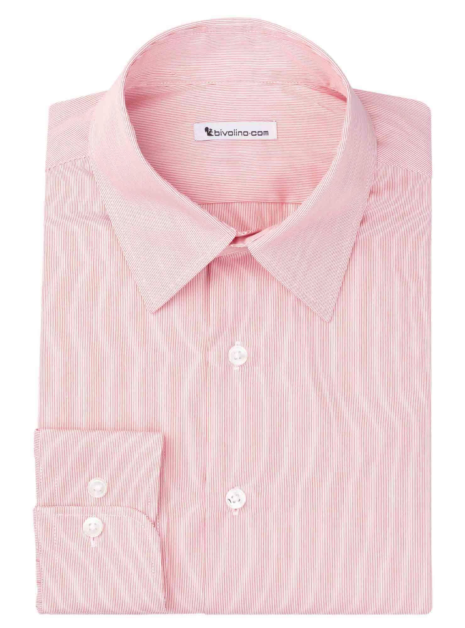 BRESCIA  - Men's shrt cotton 2ply red stripe - WINDY 4