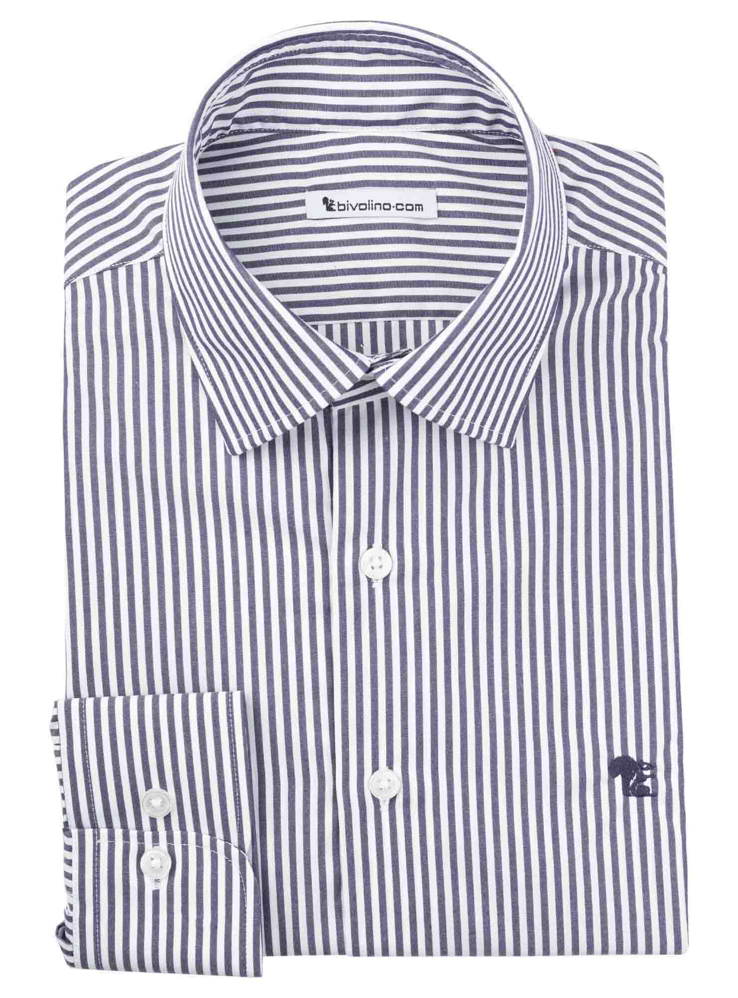 CAMPANIA - Poplin navy striped shirt - Rivo 2