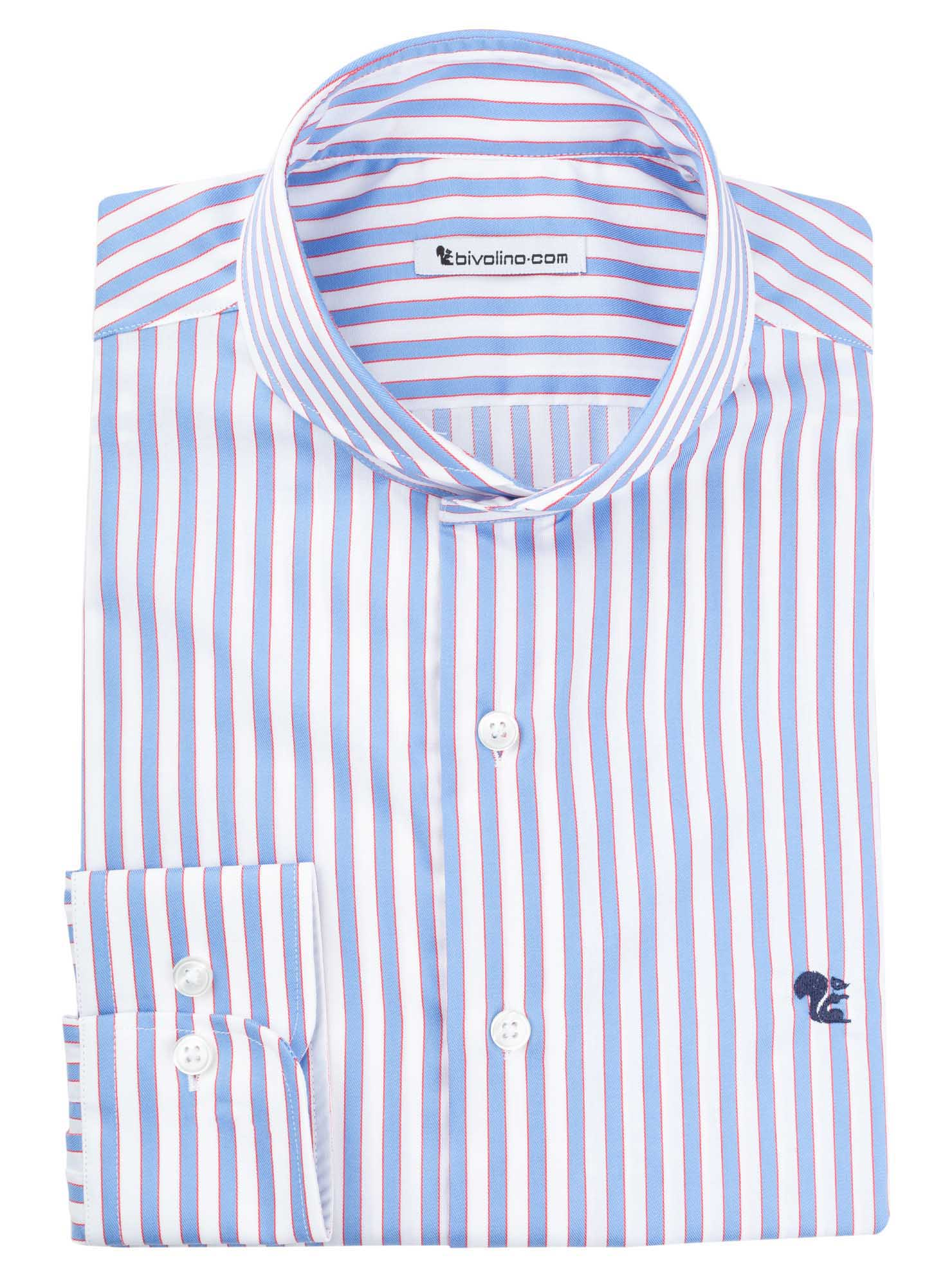 BERGAMO  - twill striped blue shirt - CELON 1
