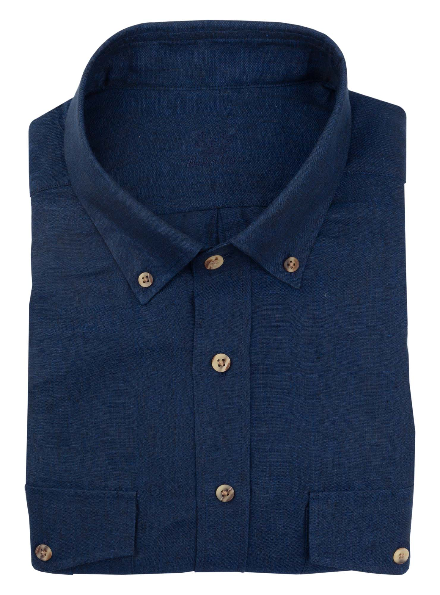 SERINI - smart casual linen navy shirt - Sera 3