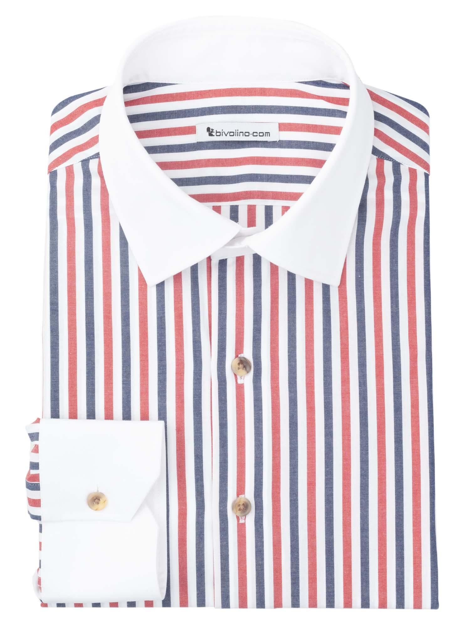 VALENCINA - tissu rayé  rouge -col blanc - winchester - Valencia 1