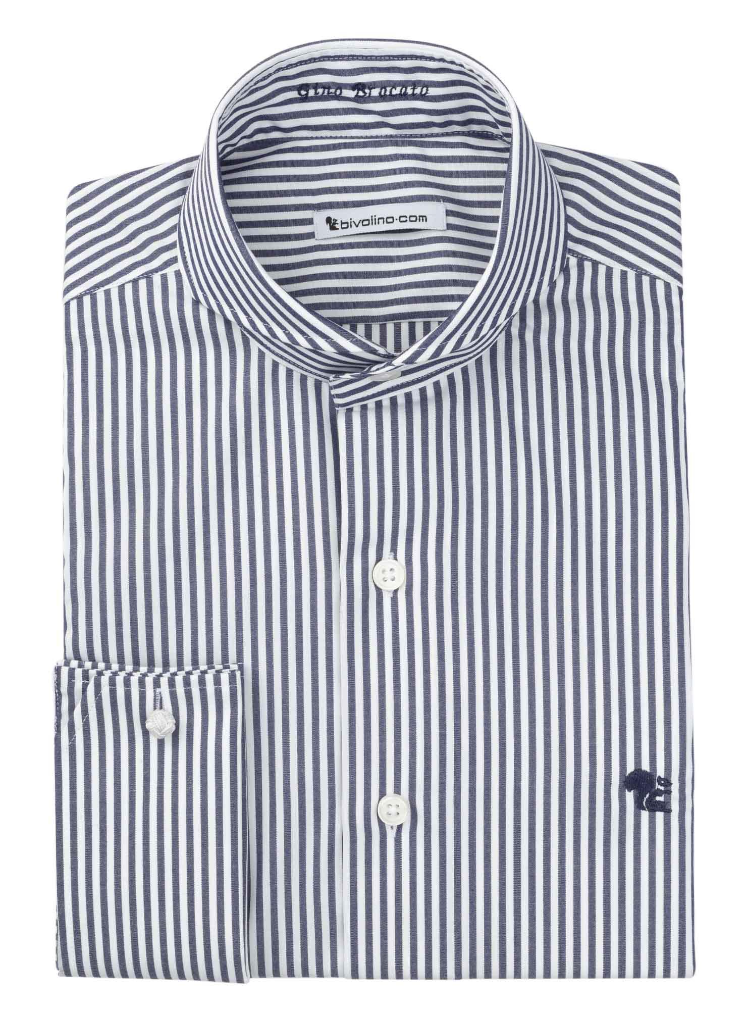 AGRIGENTO -  striped poplin navy easy-care men shirt - RIVO 2