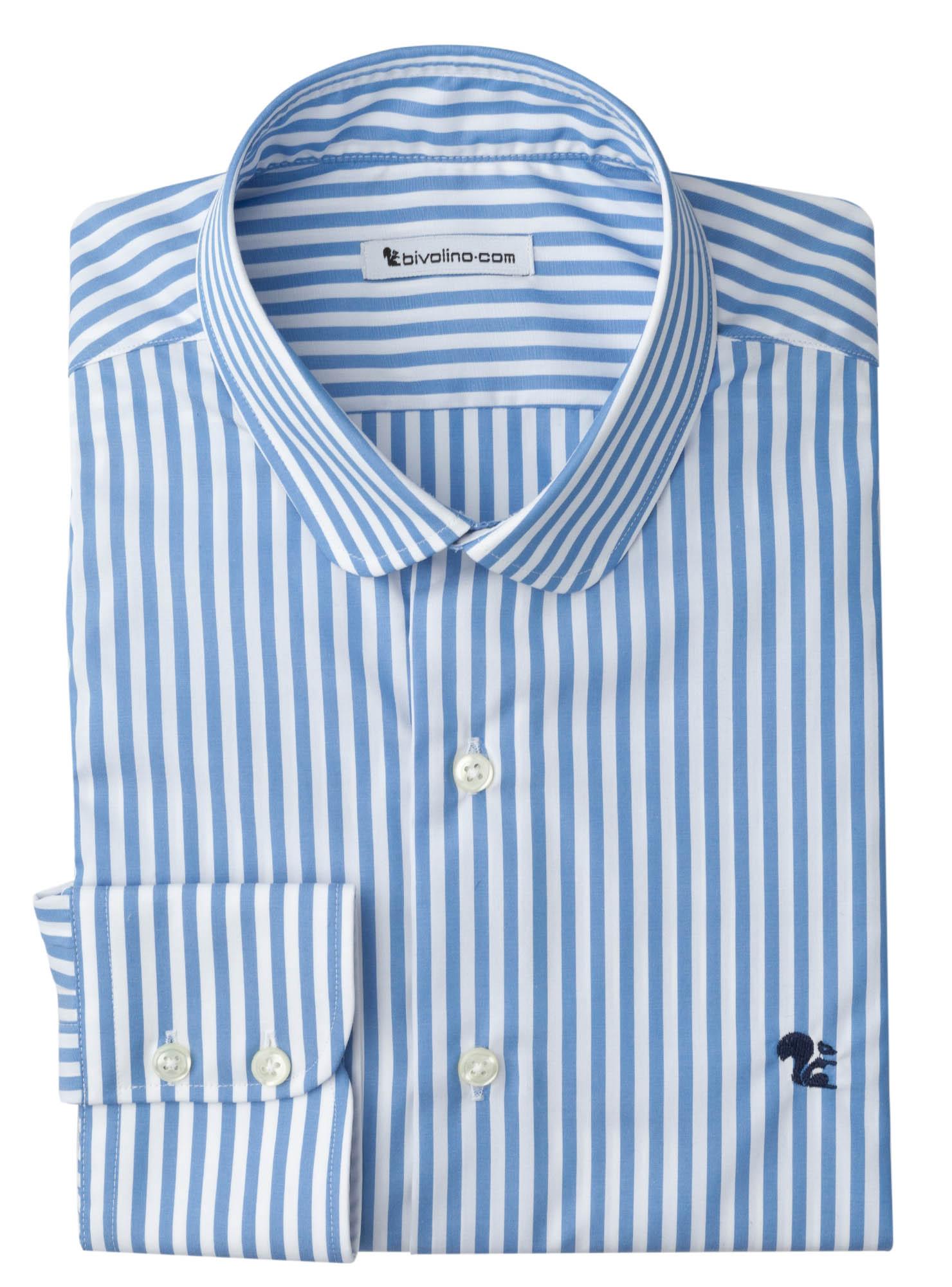 ASCOLI PICENO - Blauwe strepen popeline heren overhemd - WINDY 5
