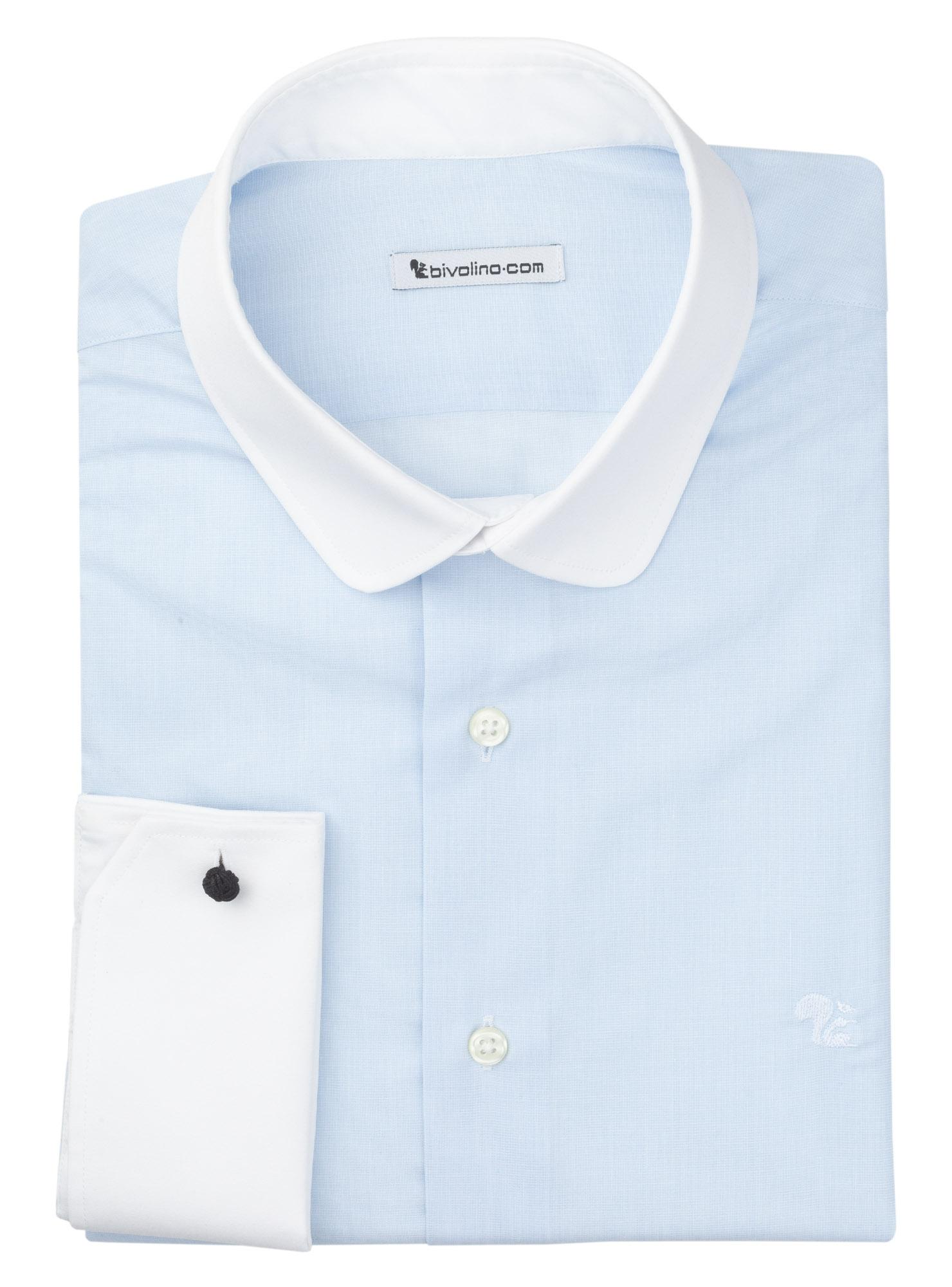 BELLUNO - Uni faden-an-faden blau baumwolle WINCHESTER Herren Hemd - Spira 3
