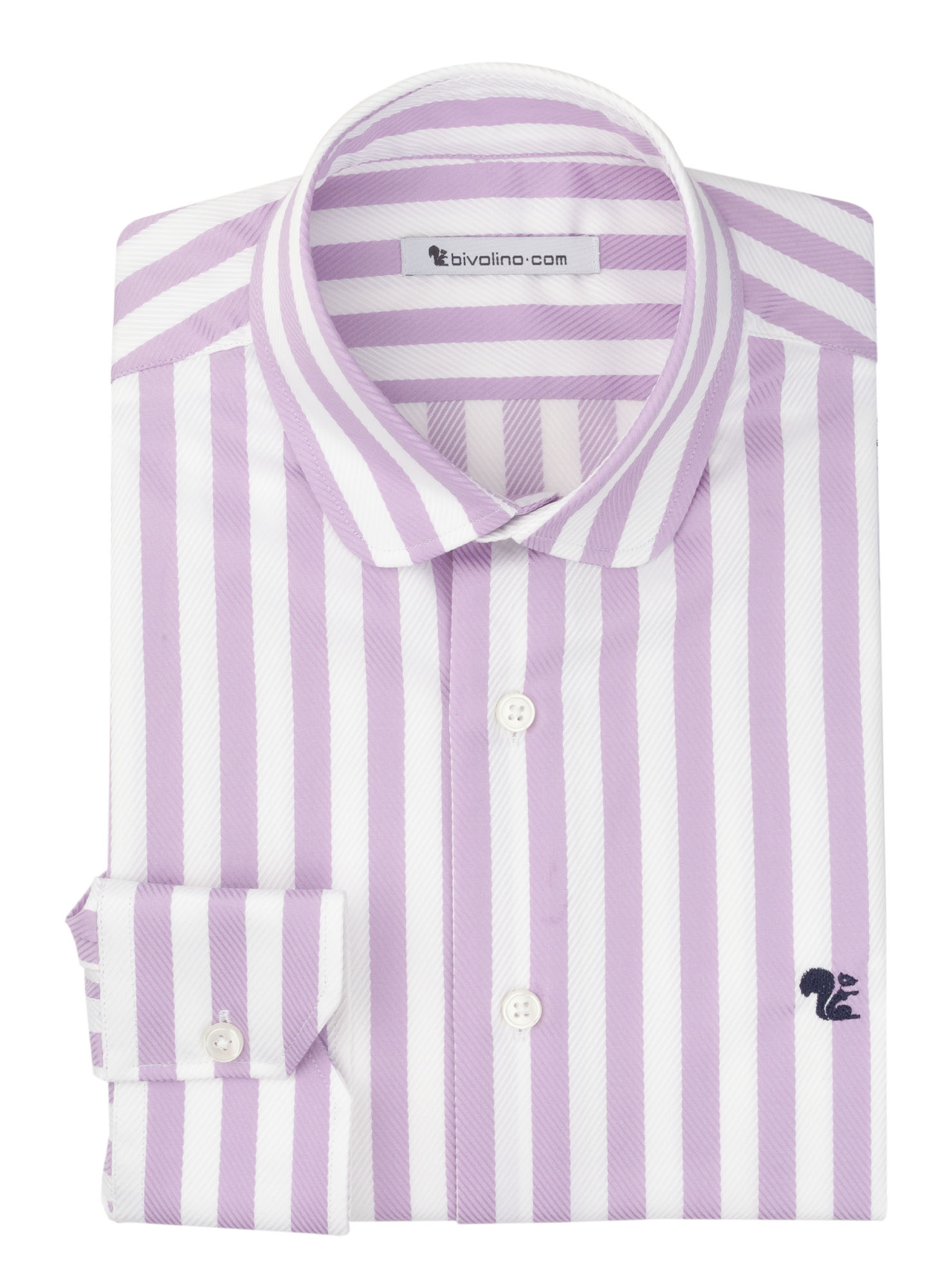 BASCHI - chemise homme lila rayure transat double retors supima satinée - CALVO 6