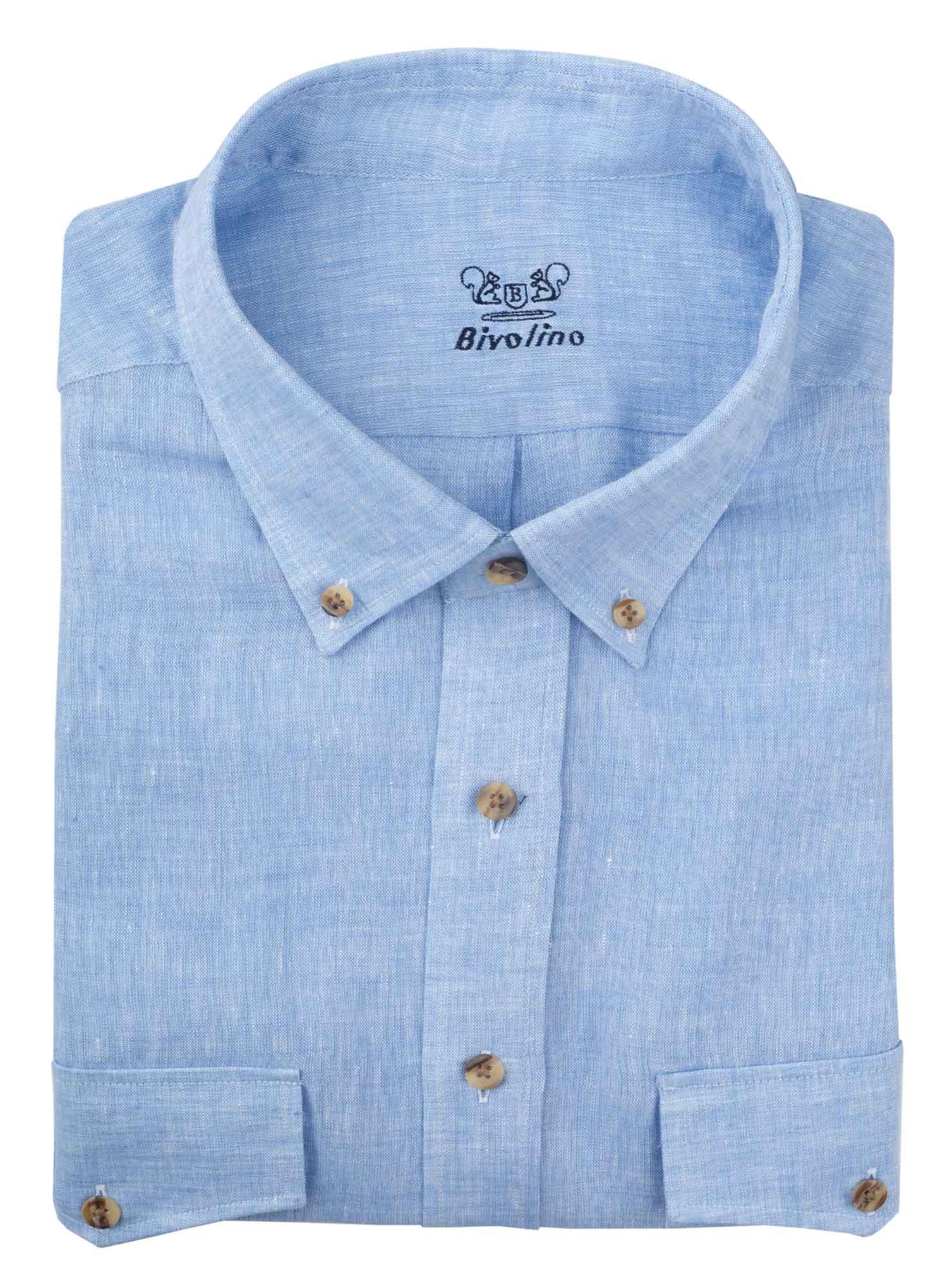 BUSTO ARSIZIO - Blauw linnen heren overhemd - SERA 2