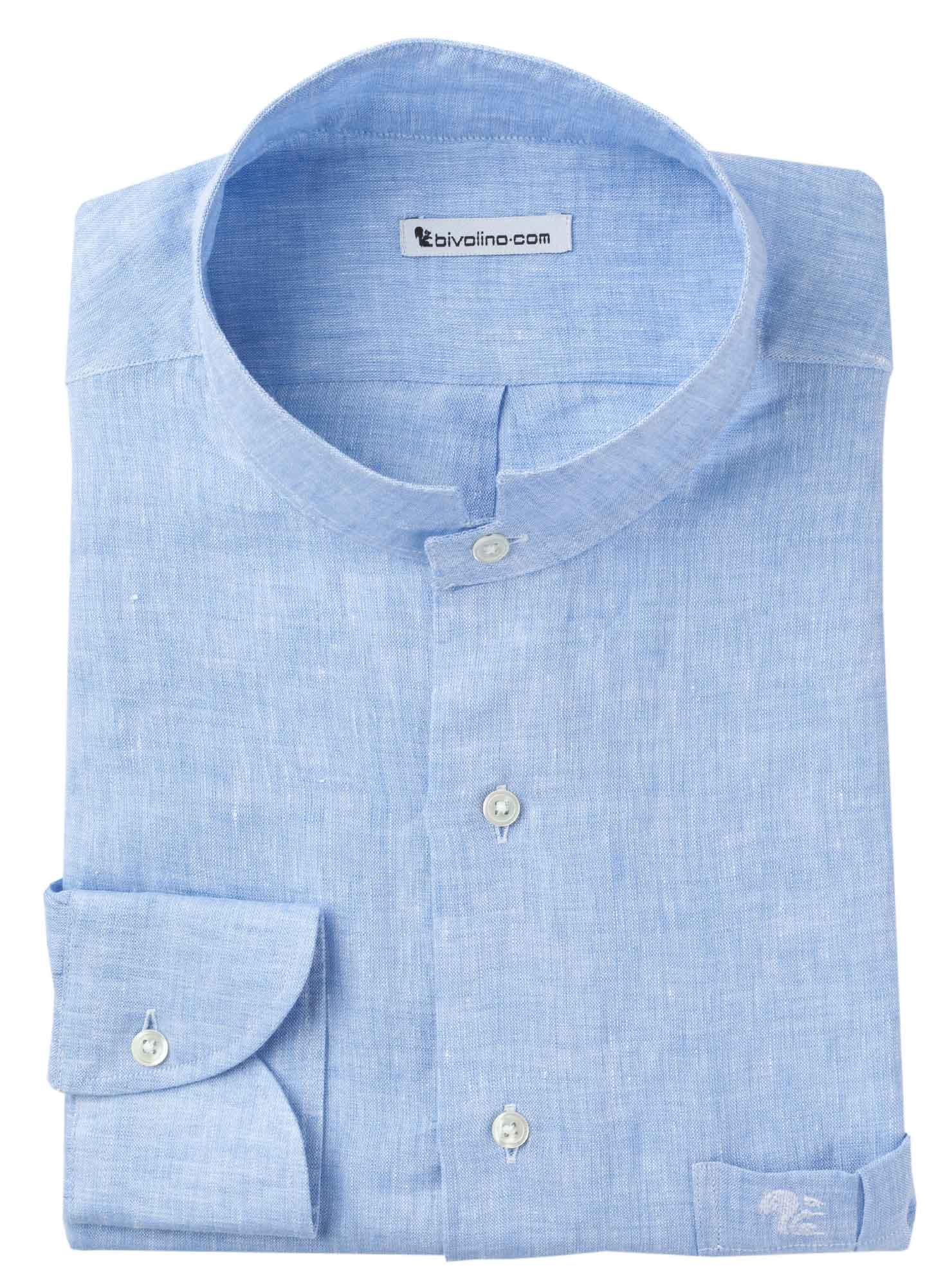 CASTEL VISCARDO - Blauw linnen heren overhemd NEHRU boord - SERA 2