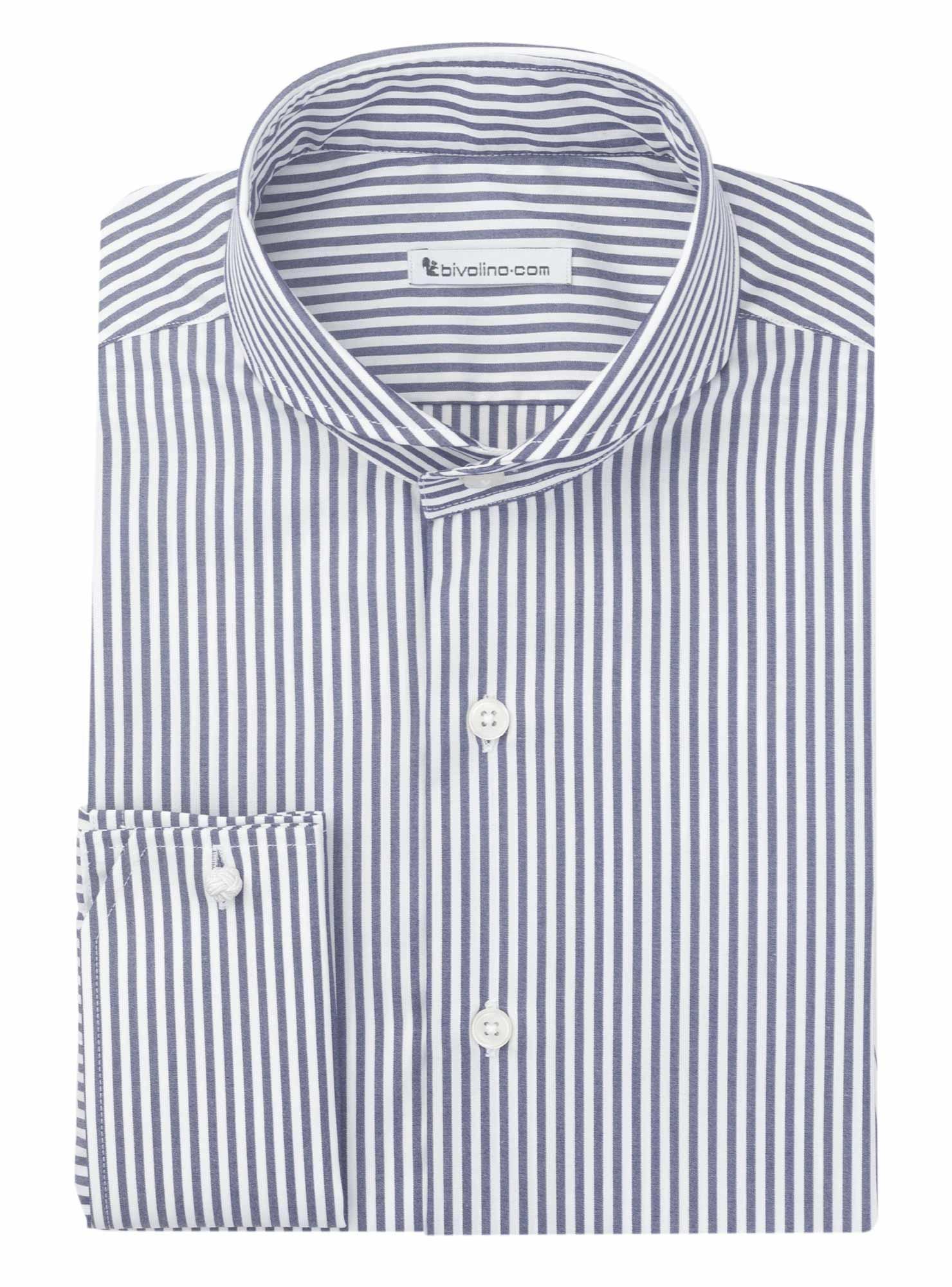COURMAYEUR - camicia da uomo in popeline rigato navy di facile manutenzione - RIVO 2