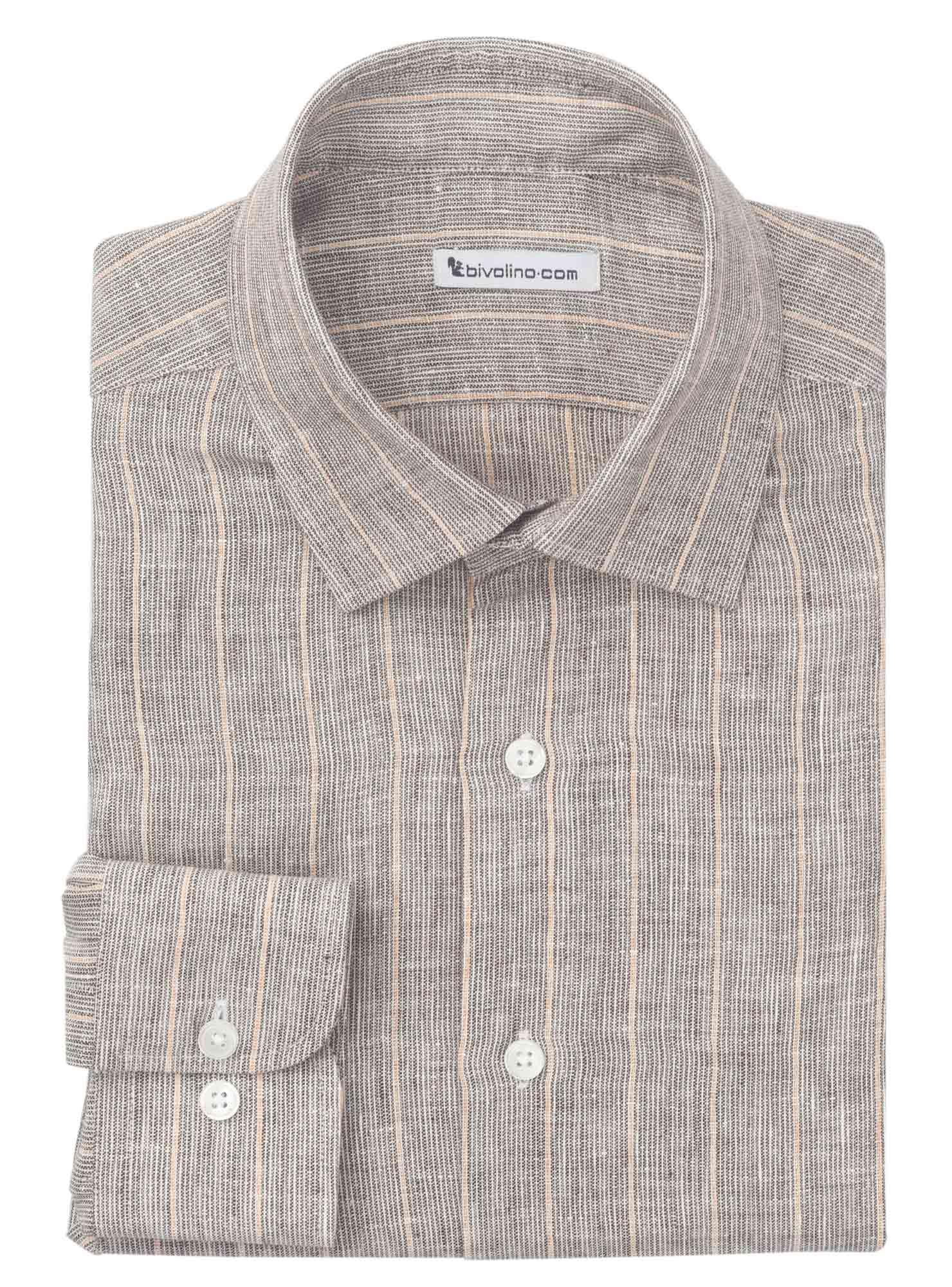 CROTONE - camicia uomo in lino gessato a righe beige-ecru-marrone - NEON 6