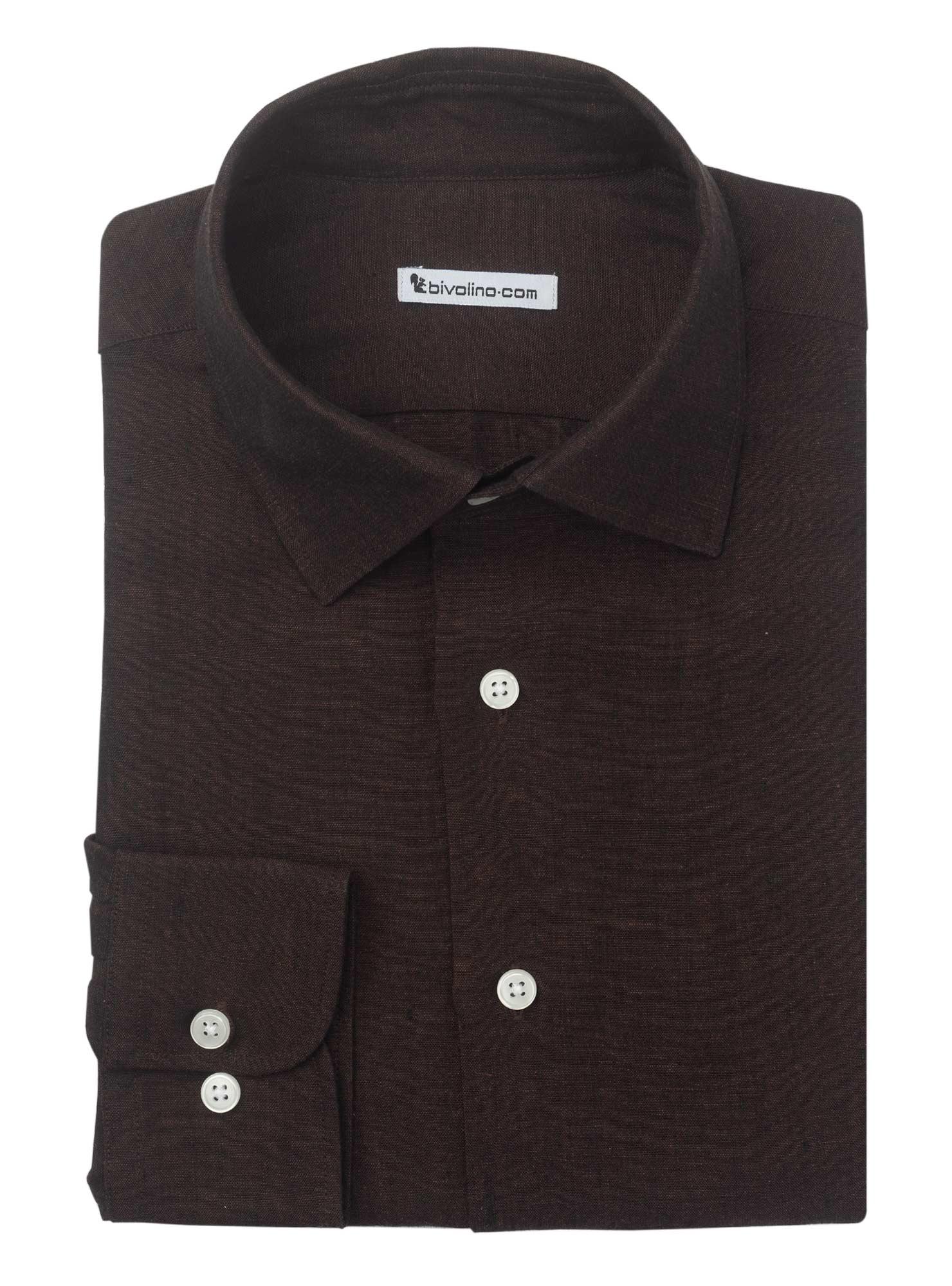 CREMONA - camicia uomo in lino tinta unita marrone - SERA 4