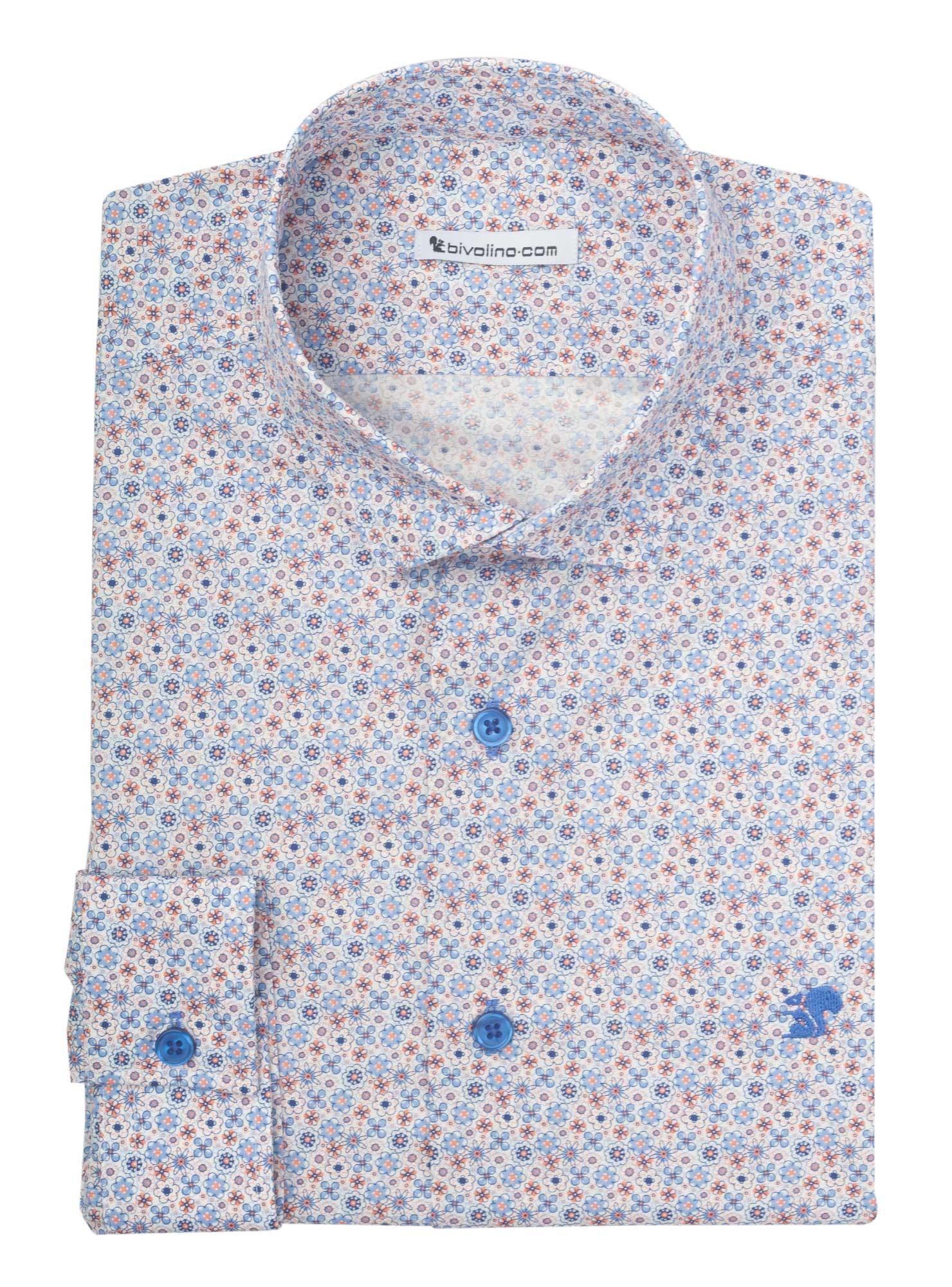 CUNEO - chemise homme print microdessin millefleurs bleu ciel coton - MANIO 4
