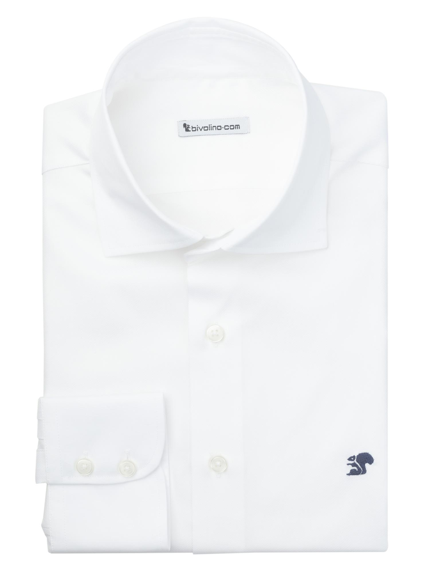 FABRO - chemise homme DAVID and JOHN ANDERSON d' ALBINI  twill double retors blanc - ZAMBO 1