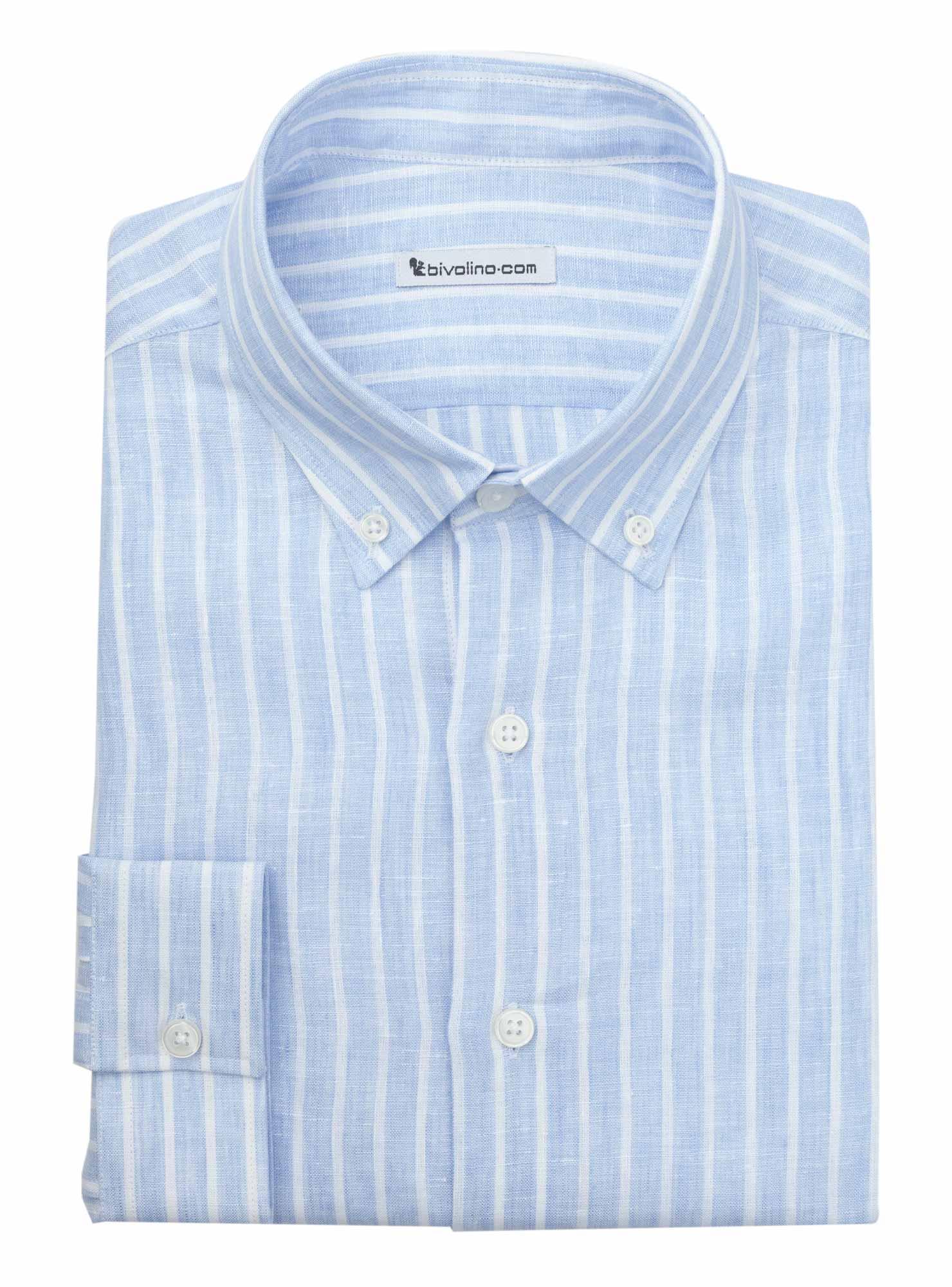 ERACLEA - chemise homme lin à rayure bleu - NEON 1