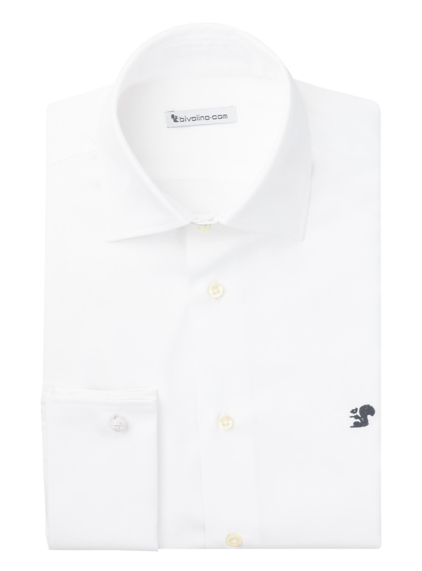 FERRARA - chemise homme DAVID and JOHN ANDERSON d' ALBINI  twill double retors blanc - ZAMBO 1