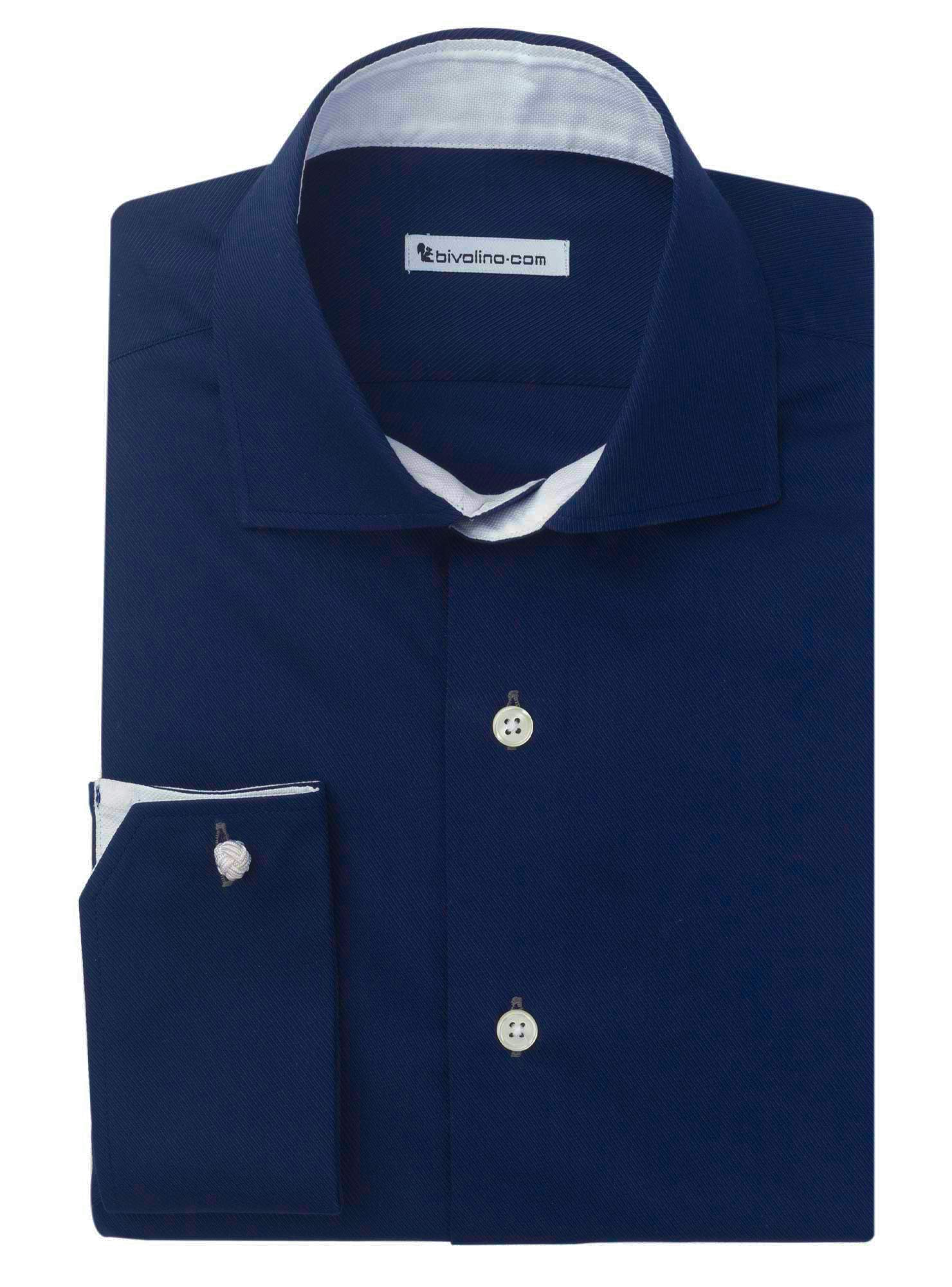 FLORENCE - chemise homme twill navy cot-pes uni - RESO 4