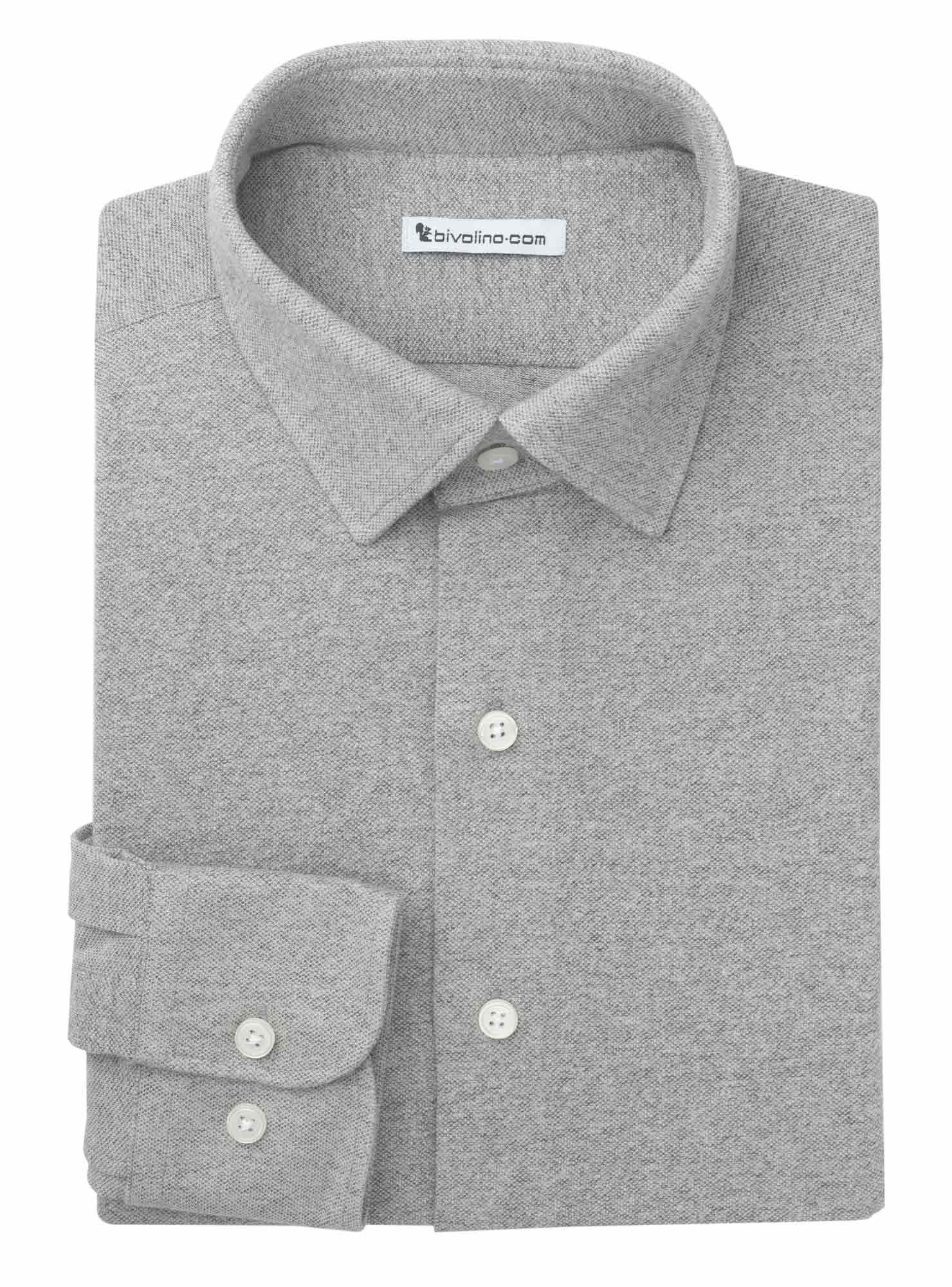 FORLì - 100% Baumwolle Piqué Jersey grau Herren Hemd - JERSILI 3