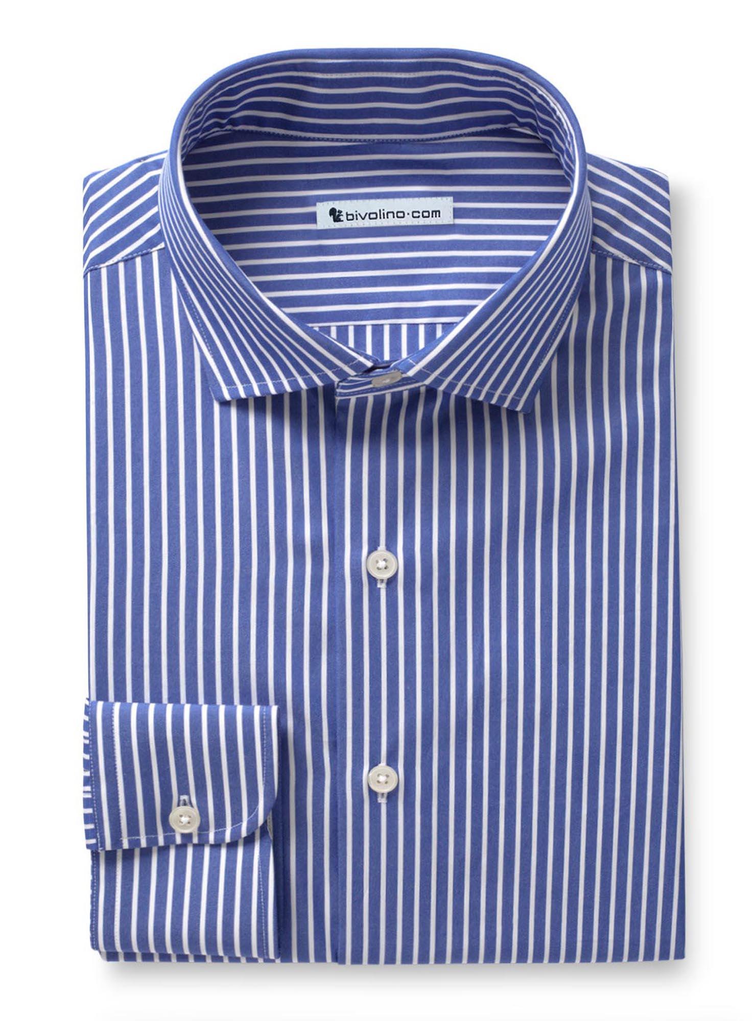 IMPERIA - Popelín de rayas azul royal camisa de hombre - TUFO 1