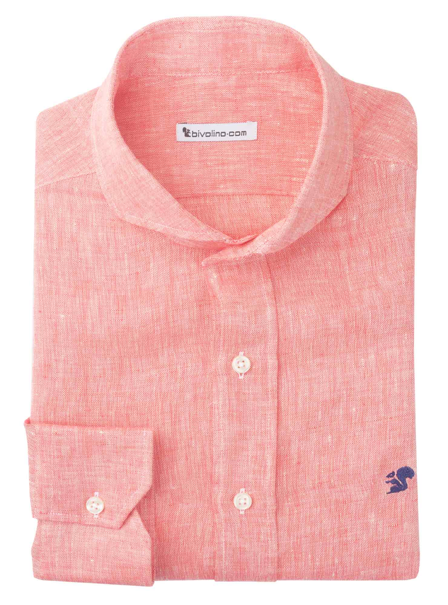 IGLESIAS - lino rosa liso camisa de hombre - SERA 5